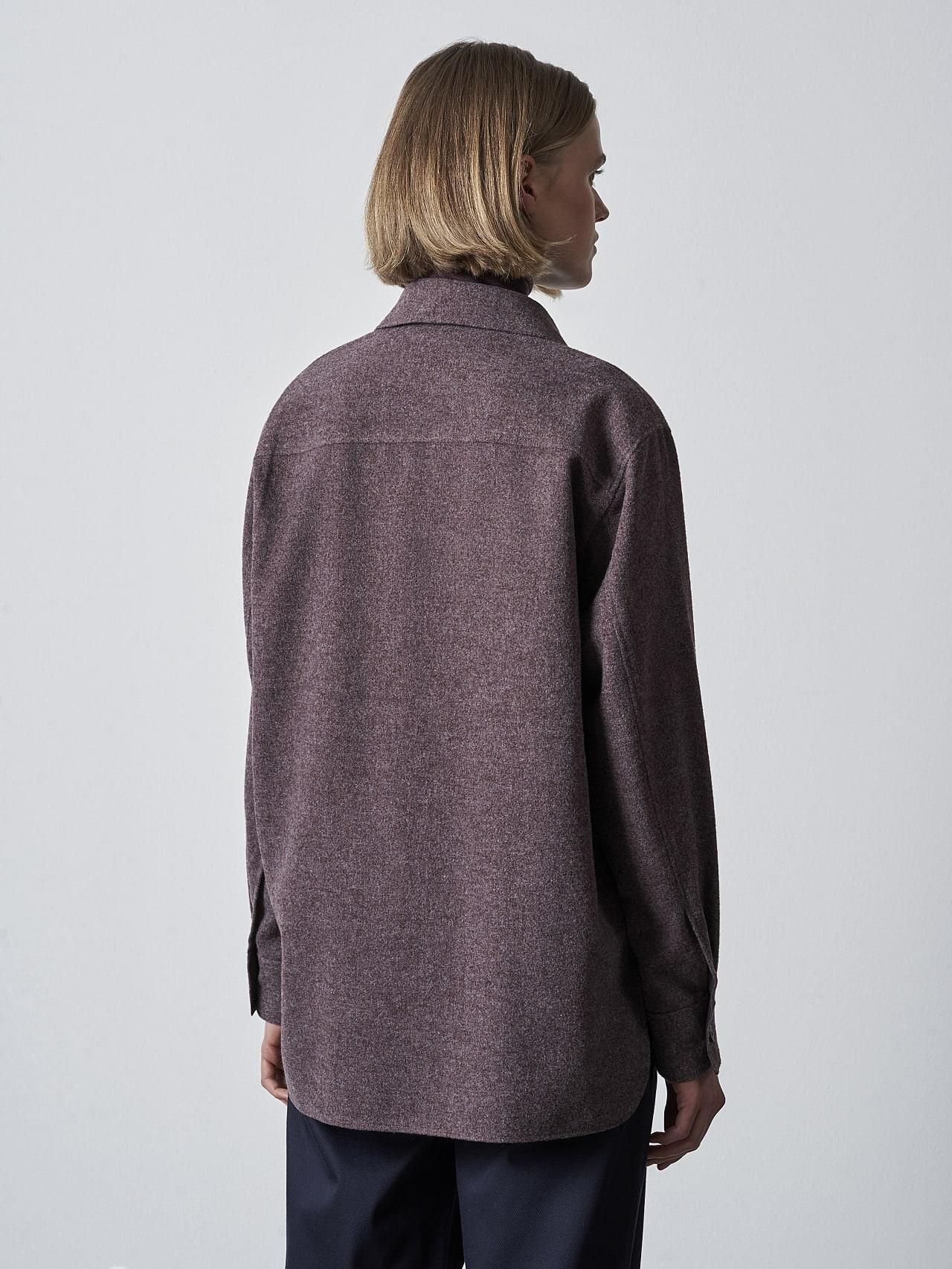 WOVIE V1.Y5.02 Wool Over-Shirt Burgundy Front Main Alpha Tauri