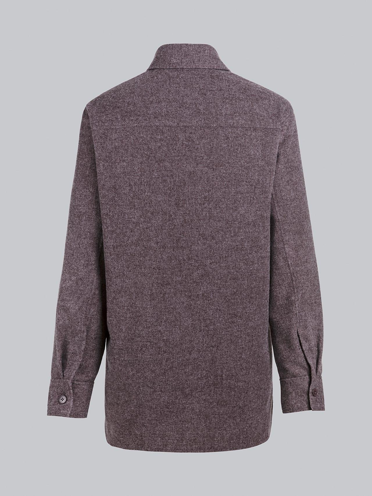 WOVIE V1.Y5.02 Wool Over-Shirt Burgundy Left Alpha Tauri