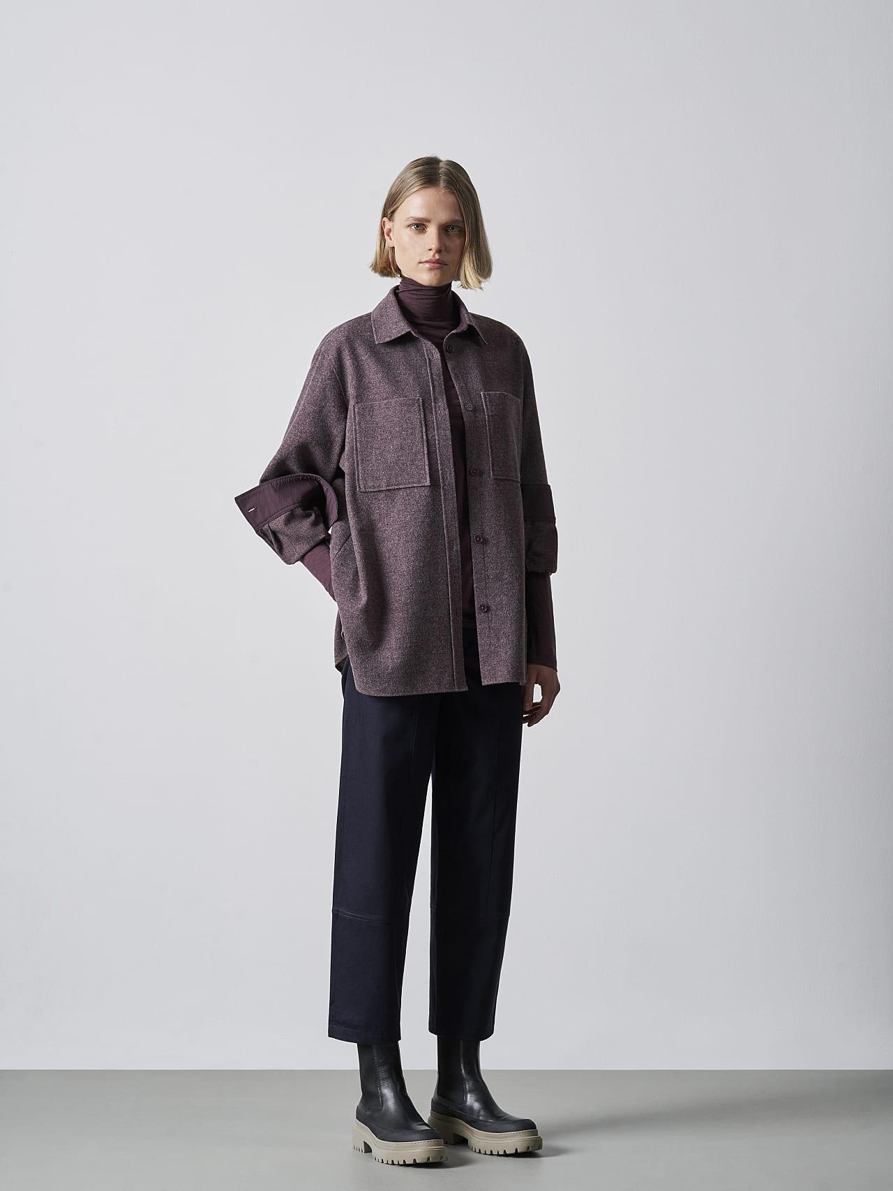 WOVIE V1.Y5.02 Wool Over-Shirt Burgundy Right Alpha Tauri