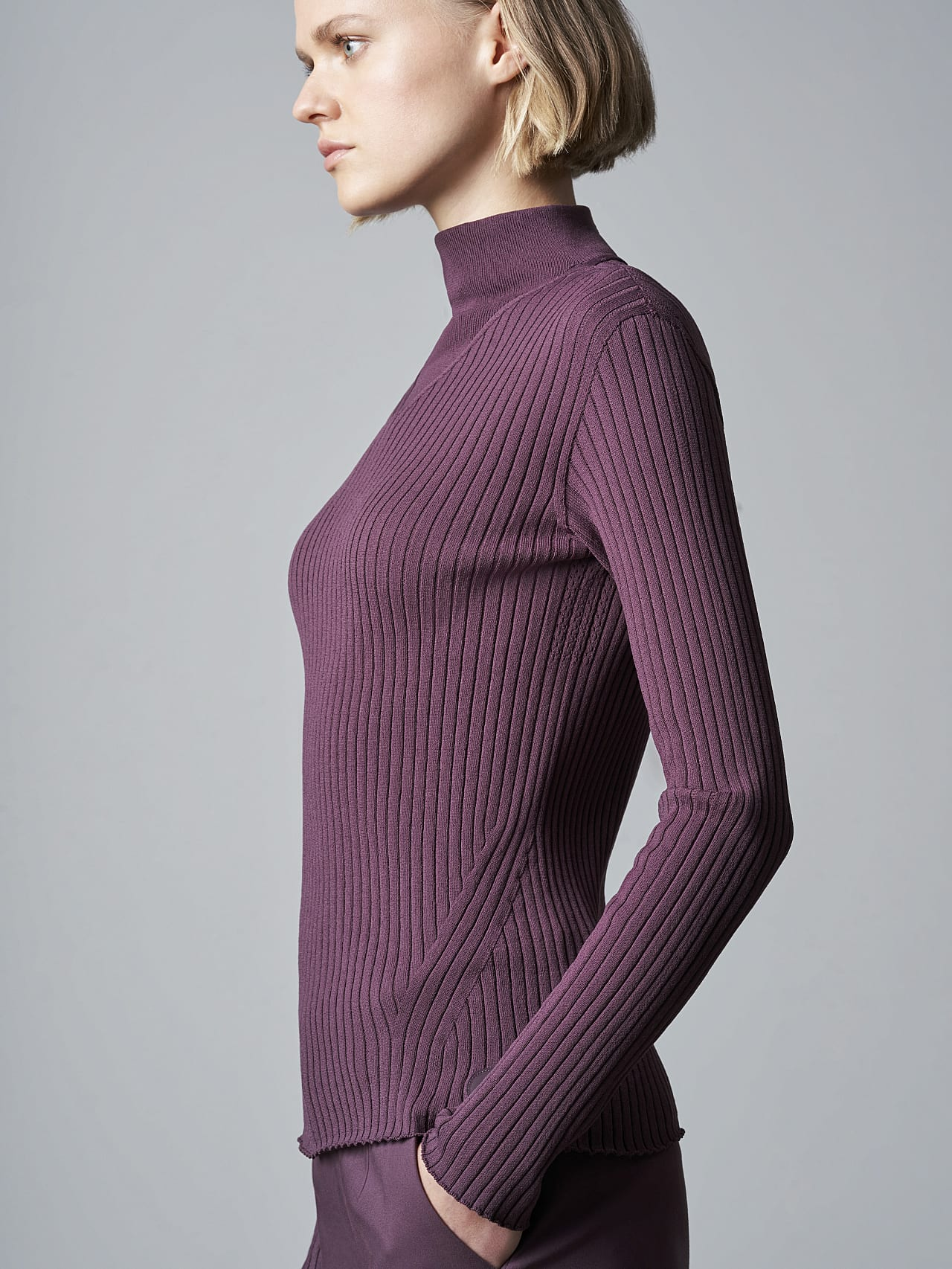 FAXEE V1.Y5.02 Seamless 3D Knit Mock-Neck Jumper Burgundy scene7.view.8.name Alpha Tauri