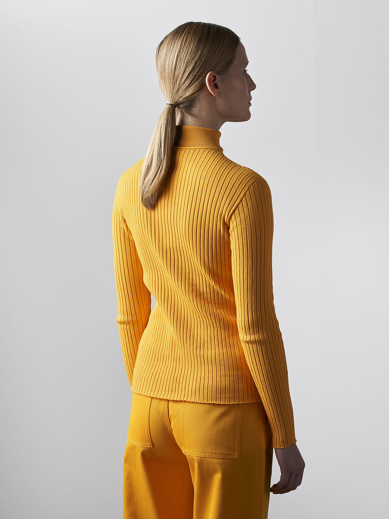 FAXEE V1.Y5.02 Seamless 3D Knit Mock-Neck Jumper yellow Front Main Alpha Tauri