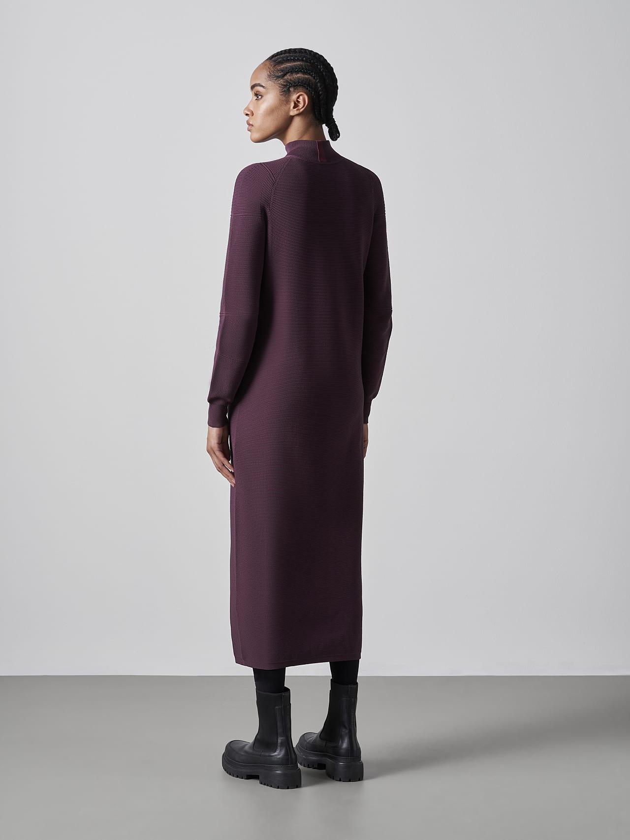 FOXEE V1.Y5.02 Seamless 3D Knit Mock-Neck Dress Burgundy Front Main Alpha Tauri
