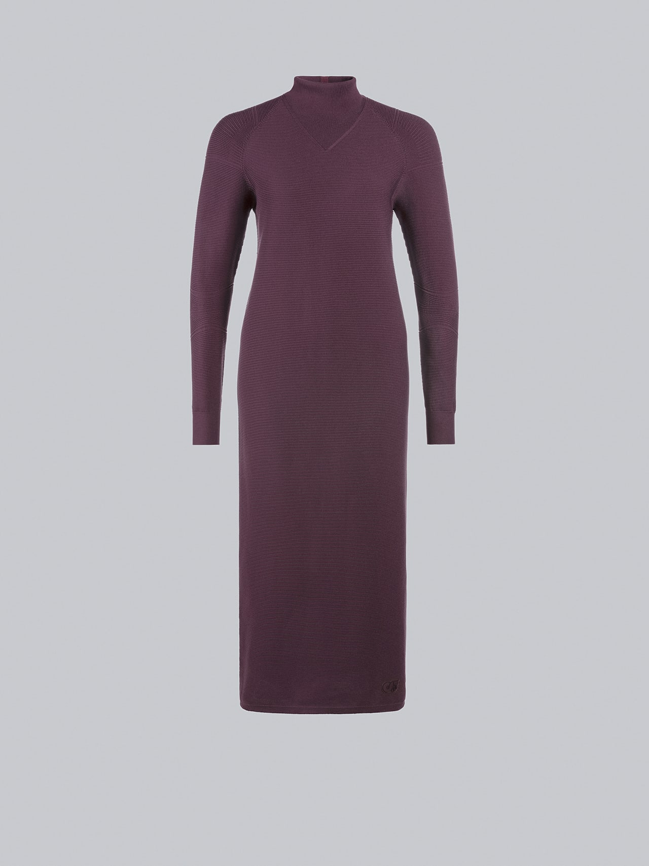 FOXEE V1.Y5.02 Seamless 3D Knit Mock-Neck Dress Burgundy Back Alpha Tauri