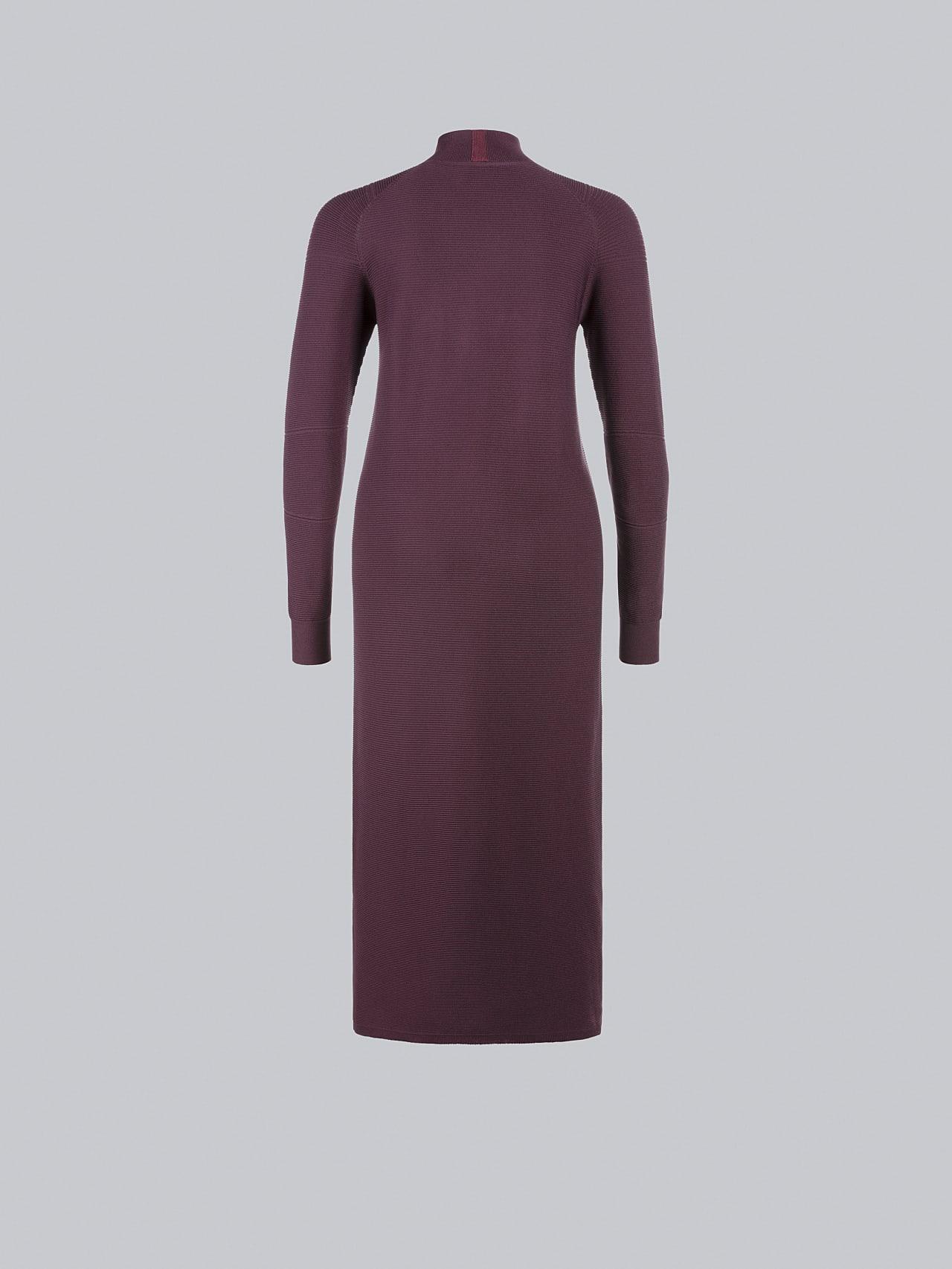 FOXEE V1.Y5.02 Seamless 3D Knit Mock-Neck Dress Burgundy Left Alpha Tauri