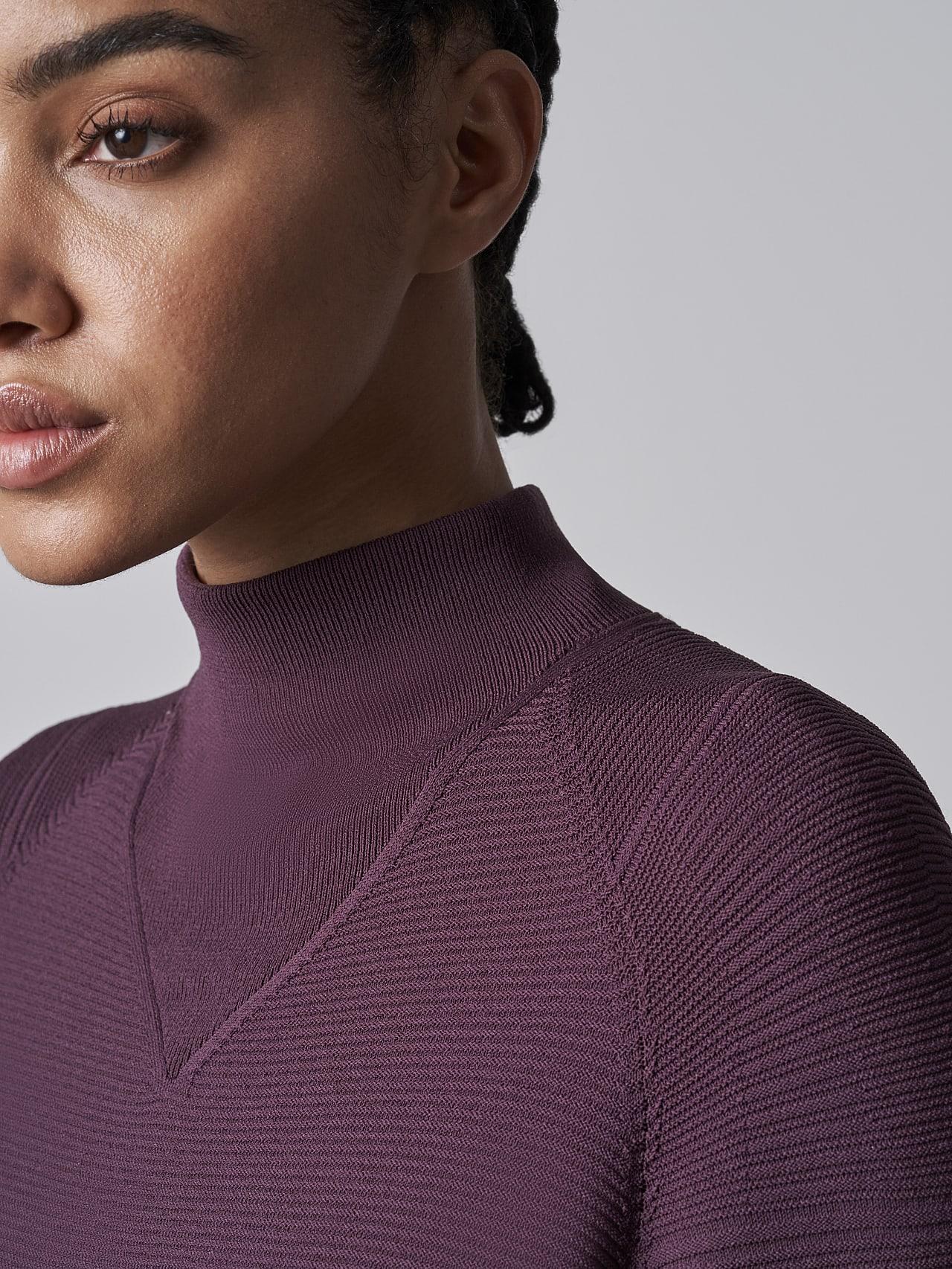FOXEE V1.Y5.02 Seamless 3D Knit Mock-Neck Dress Burgundy Right Alpha Tauri