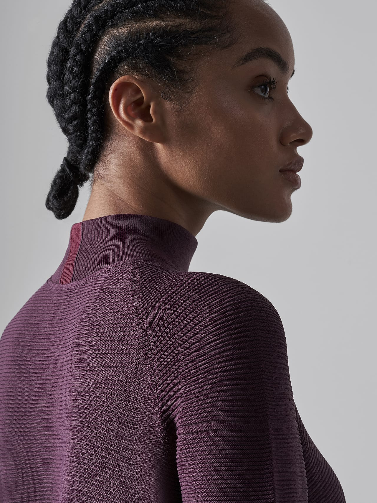 FOXEE V1.Y5.02 Seamless 3D Knit Mock-Neck Dress Burgundy Extra Alpha Tauri