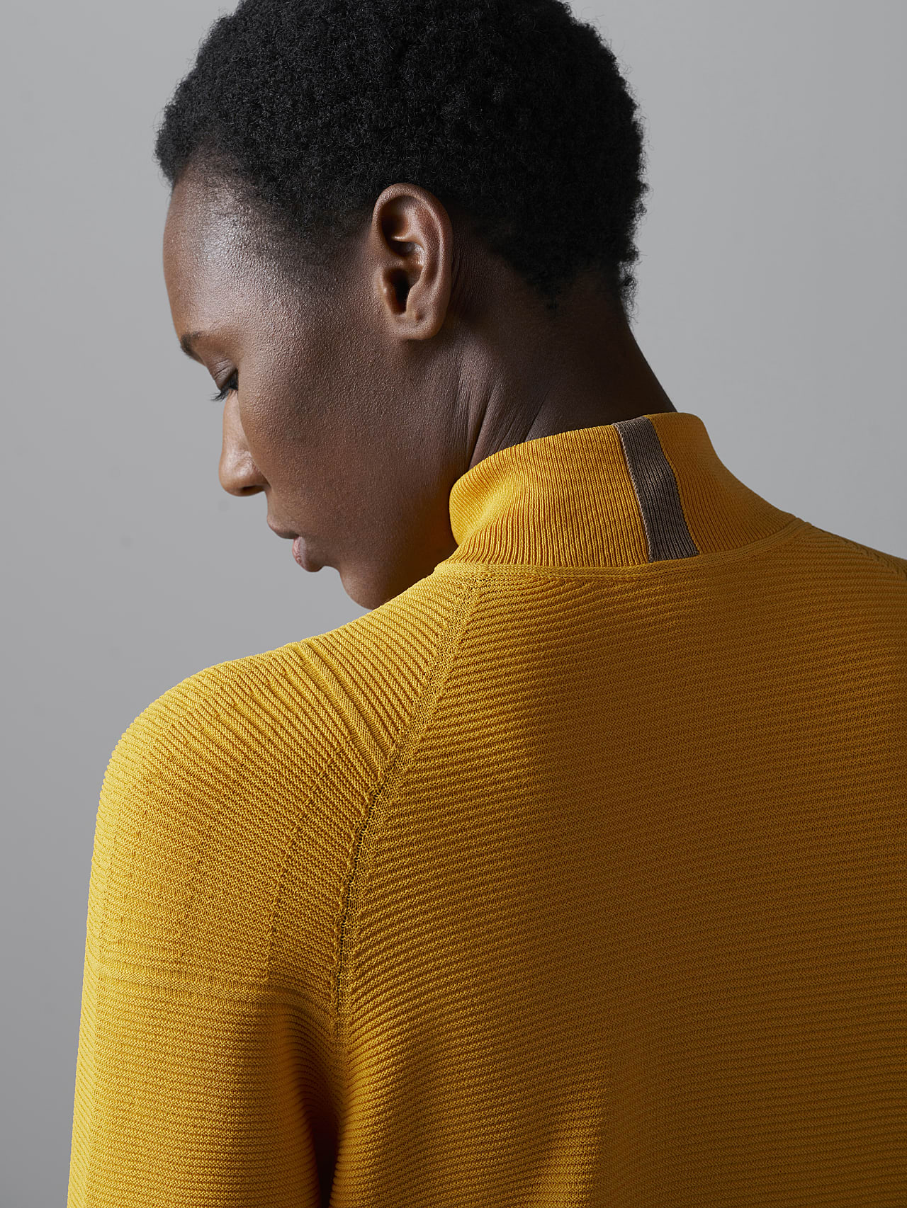 FOXEE V1.Y5.02 Seamless 3D Knit Mock-Neck Dress yellow scene7.view.10.name Alpha Tauri