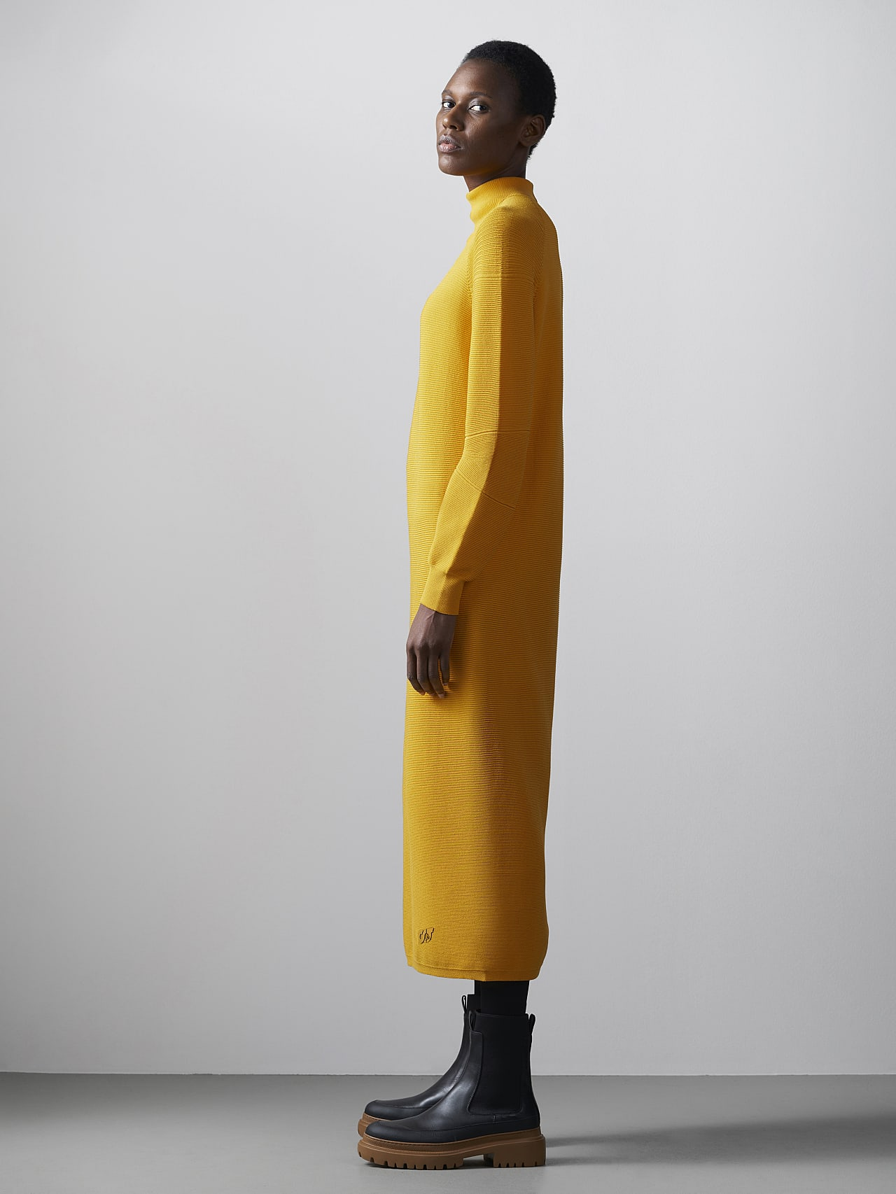FOXEE V1.Y5.02 Seamless 3D Knit Mock-Neck Dress yellow Front Alpha Tauri