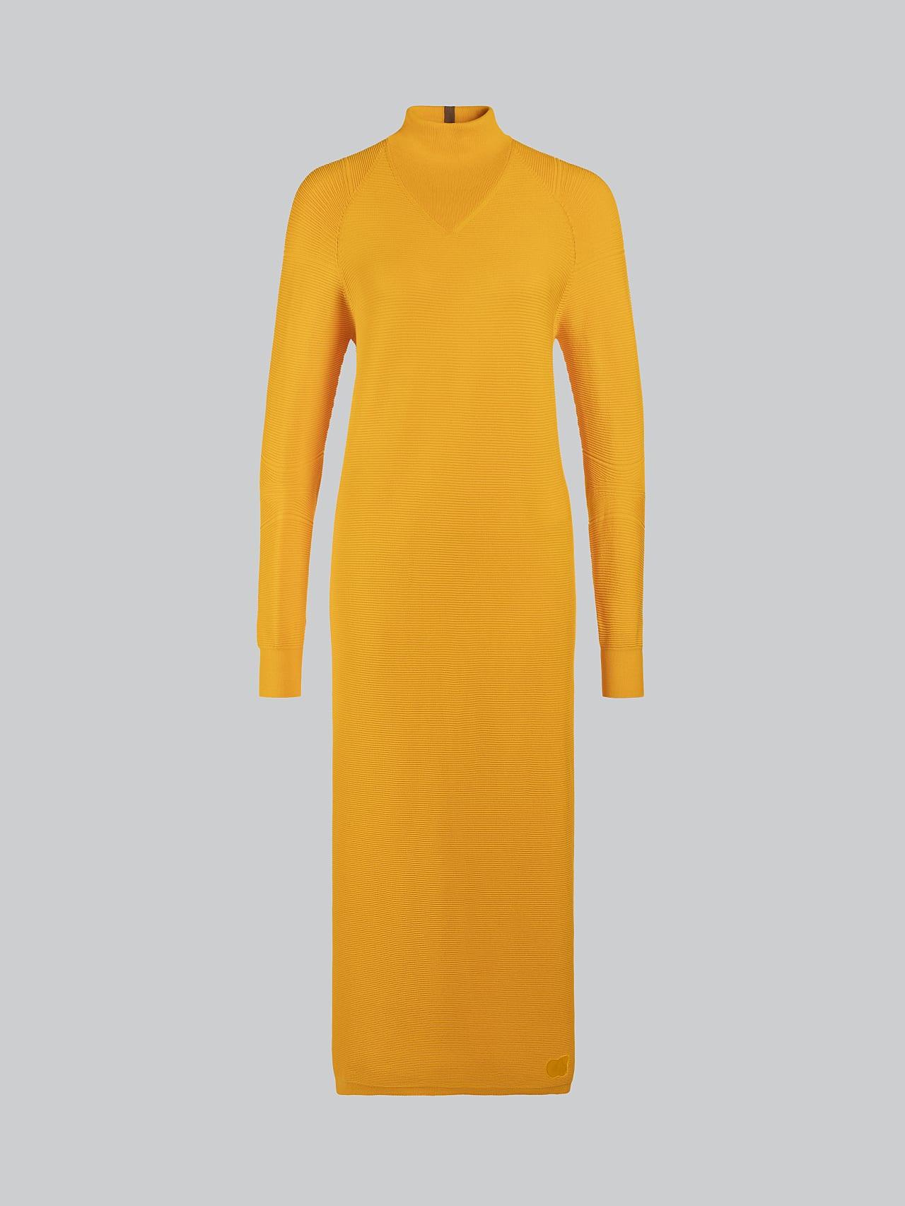 FOXEE V1.Y5.02 Seamless 3D Knit Mock-Neck Dress yellow Back Alpha Tauri