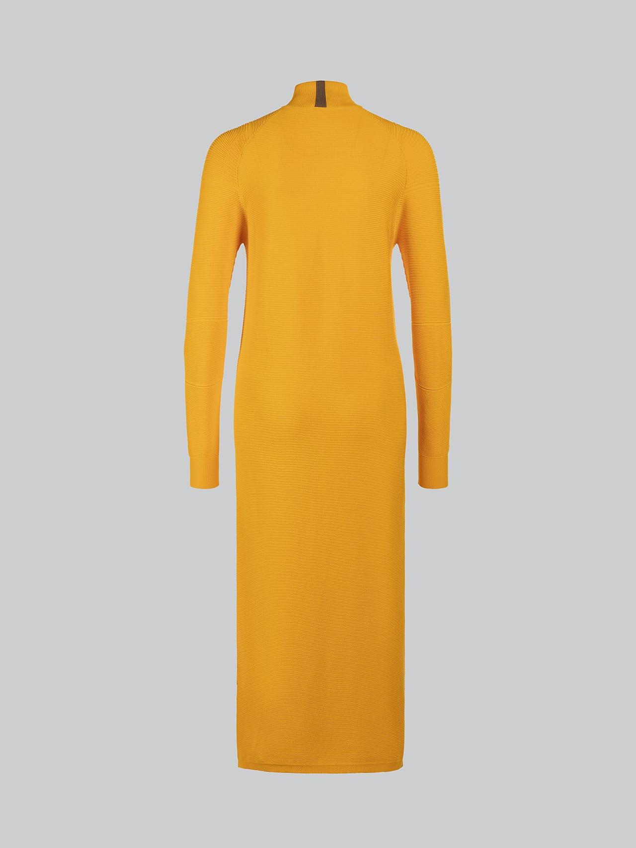 FOXEE V1.Y5.02 Seamless 3D Knit Mock-Neck Dress yellow Left Alpha Tauri
