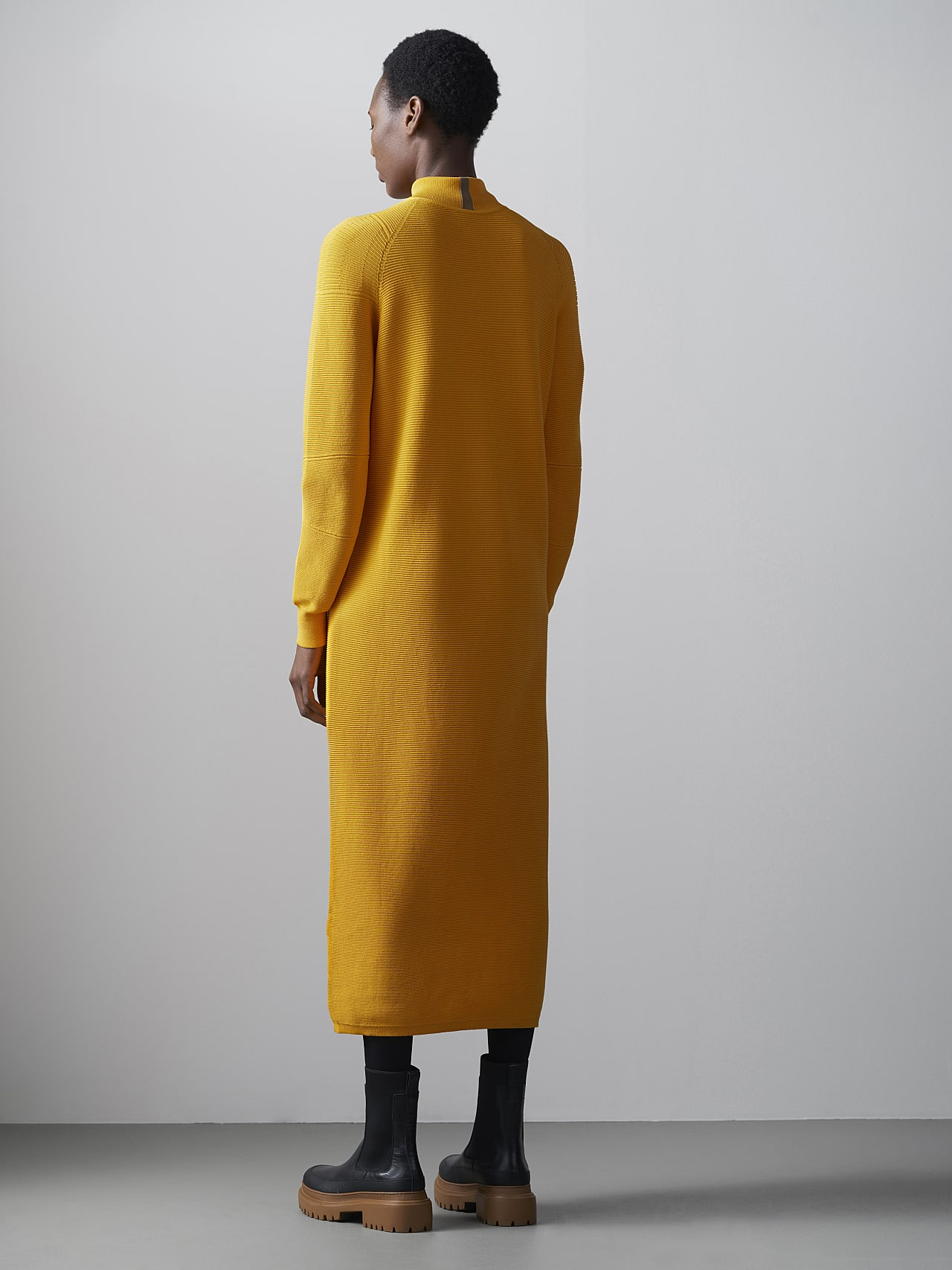 FOXEE V1.Y5.02 Seamless 3D Knit Mock-Neck Dress yellow Right Alpha Tauri