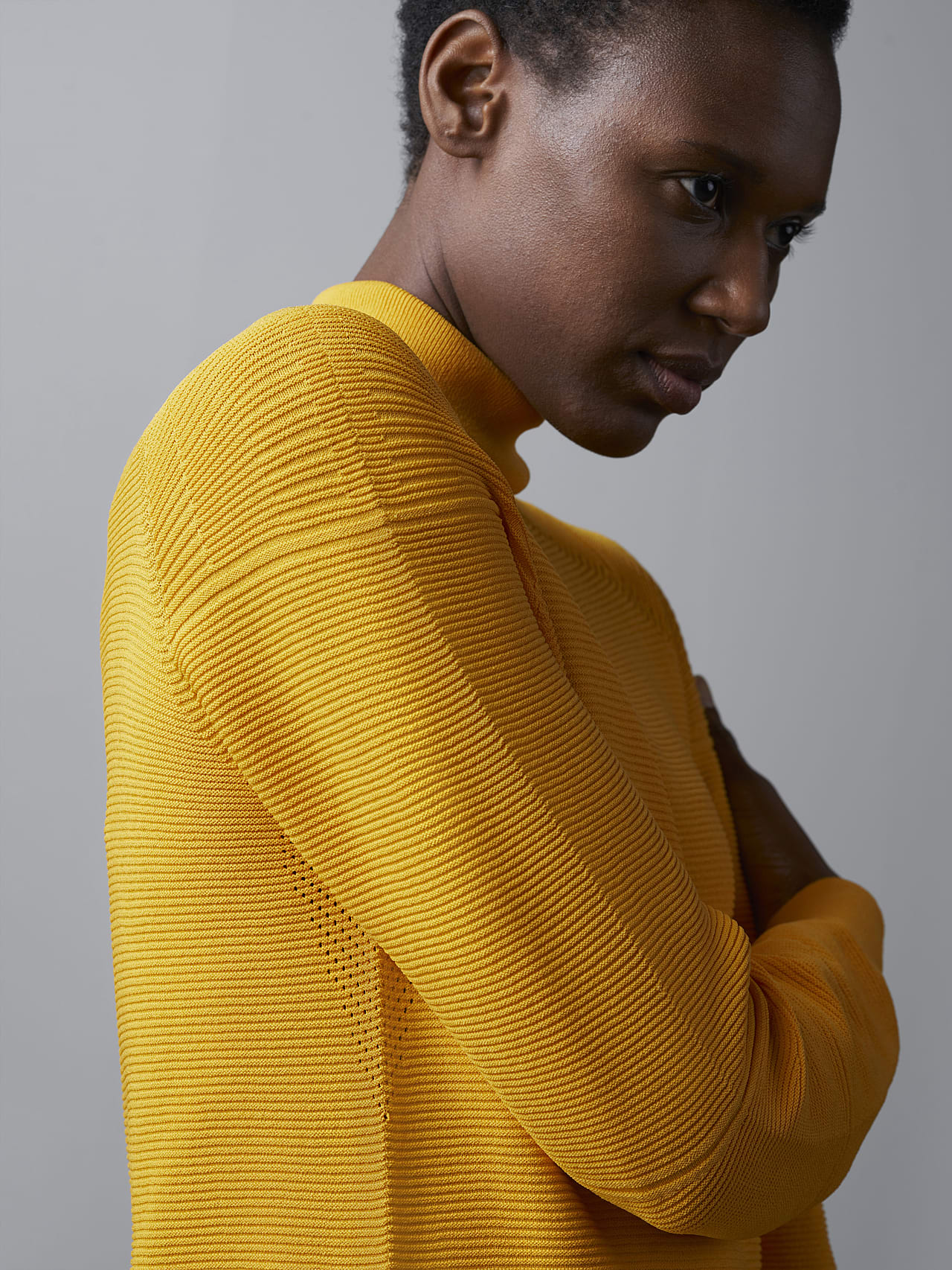 FOXEE V1.Y5.02 Seamless 3D Knit Mock-Neck Dress yellow scene7.view.9.name Alpha Tauri