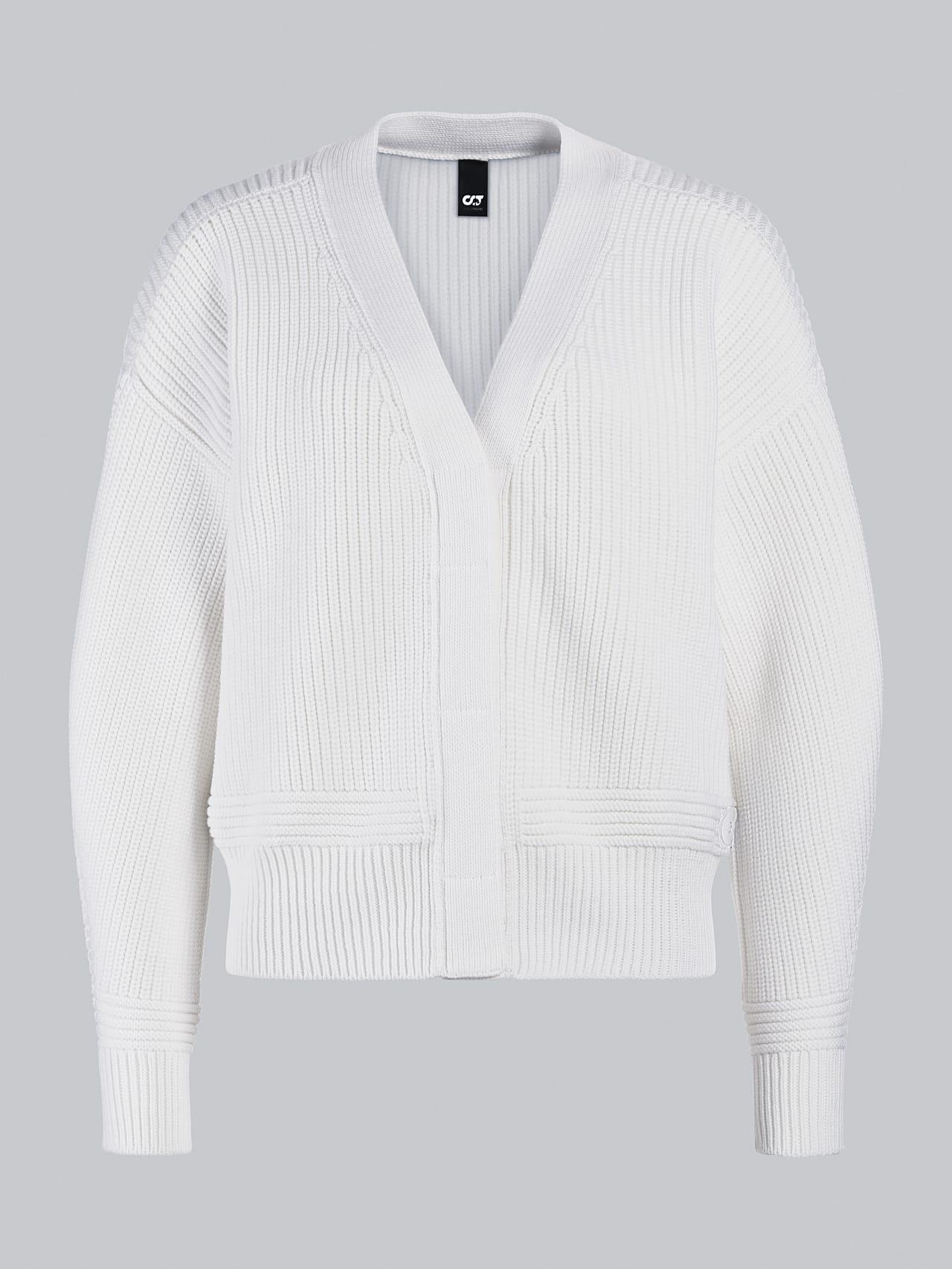 FREDA V1.Y5.02 Chunky Merino Wool Cardigan offwhite Back Alpha Tauri