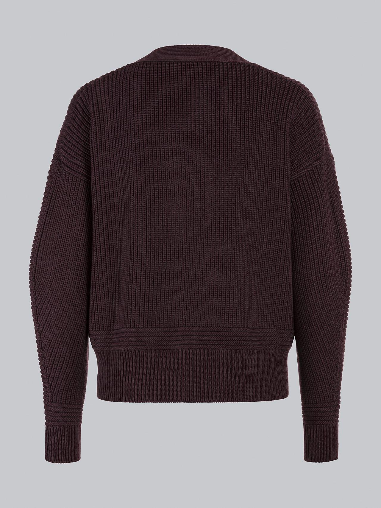 FREDA V1.Y5.02 Chunky Merino Wool Cardigan Burgundy Left Alpha Tauri
