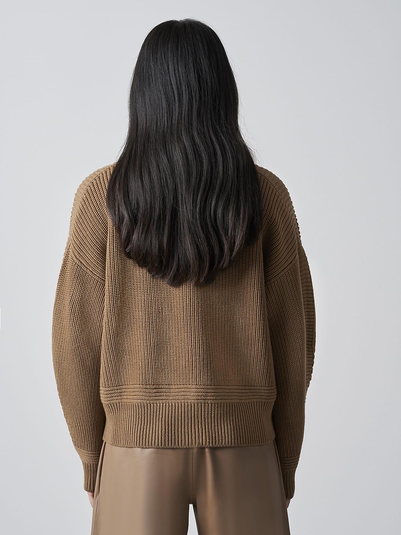 FREDA V1.Y5.02 Chunky Merino Wool Cardigan gold Front Main Alpha Tauri