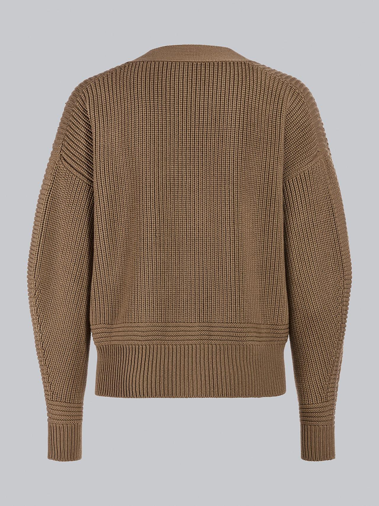 FREDA V1.Y5.02 Chunky Merino Wool Cardigan gold Left Alpha Tauri