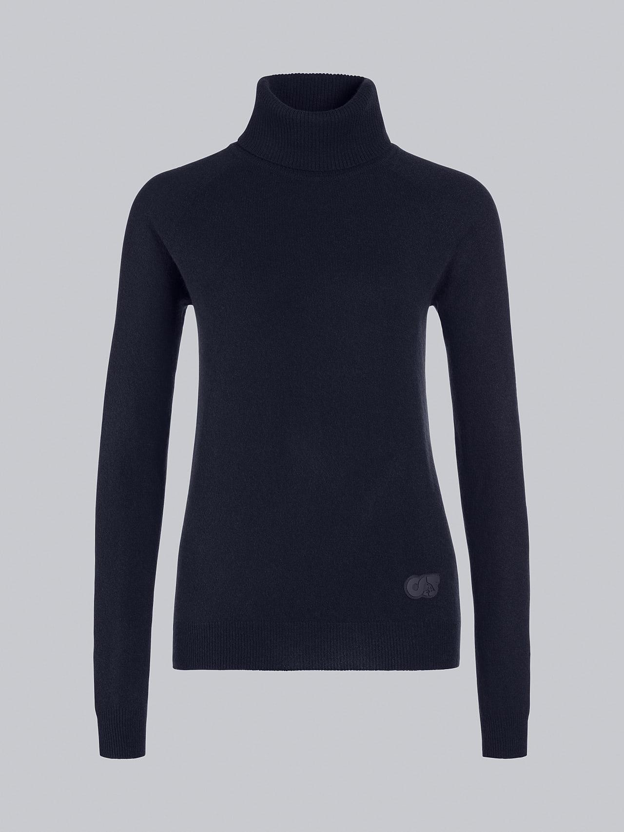 FLAMY V1.Y5.02 Seamless 3D Knit Merino-Cashmere Turtle Neck navy Back Alpha Tauri