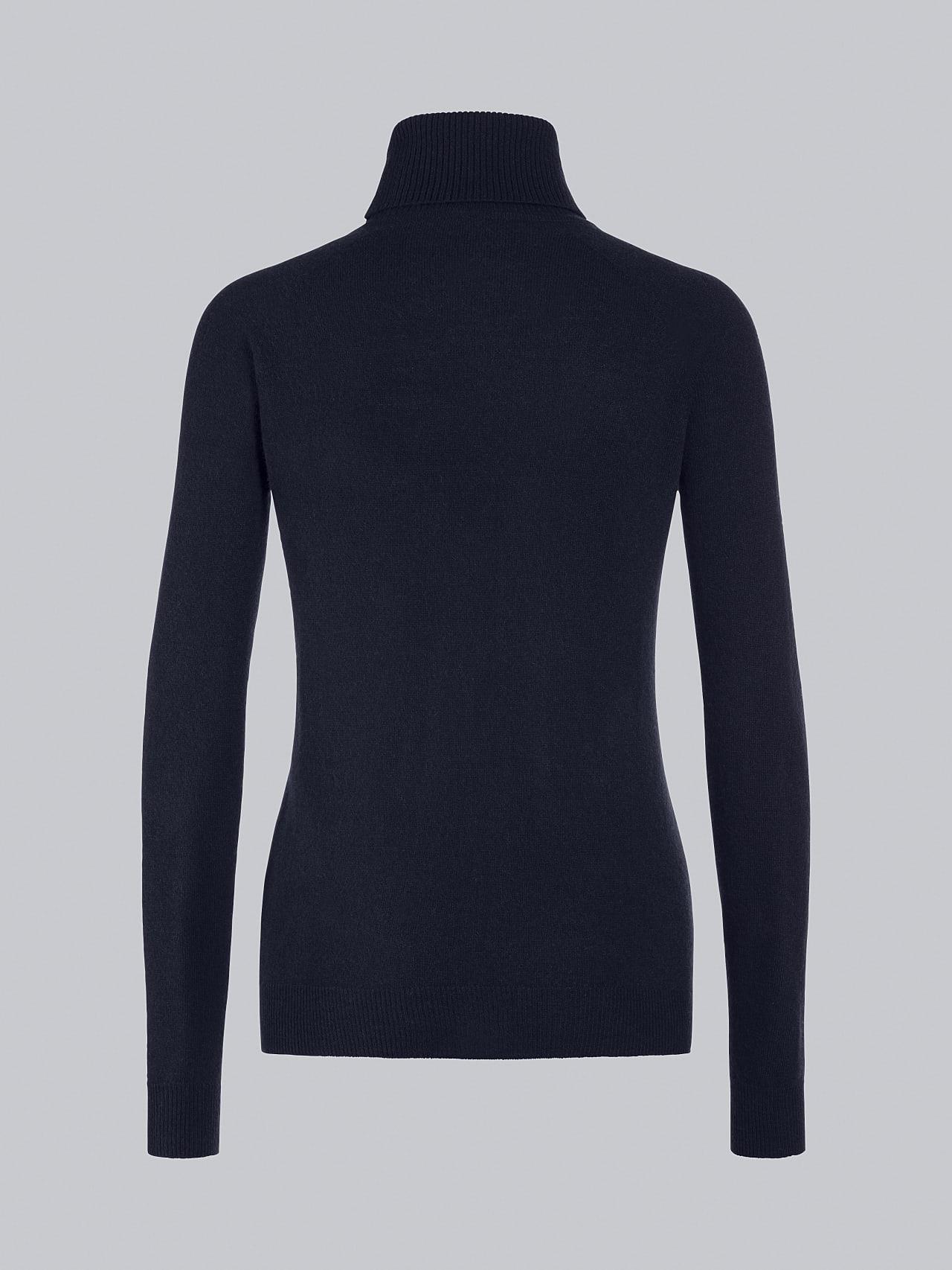 FLAMY V1.Y5.02 Seamless 3D Knit Merino-Cashmere Turtle Neck navy Left Alpha Tauri