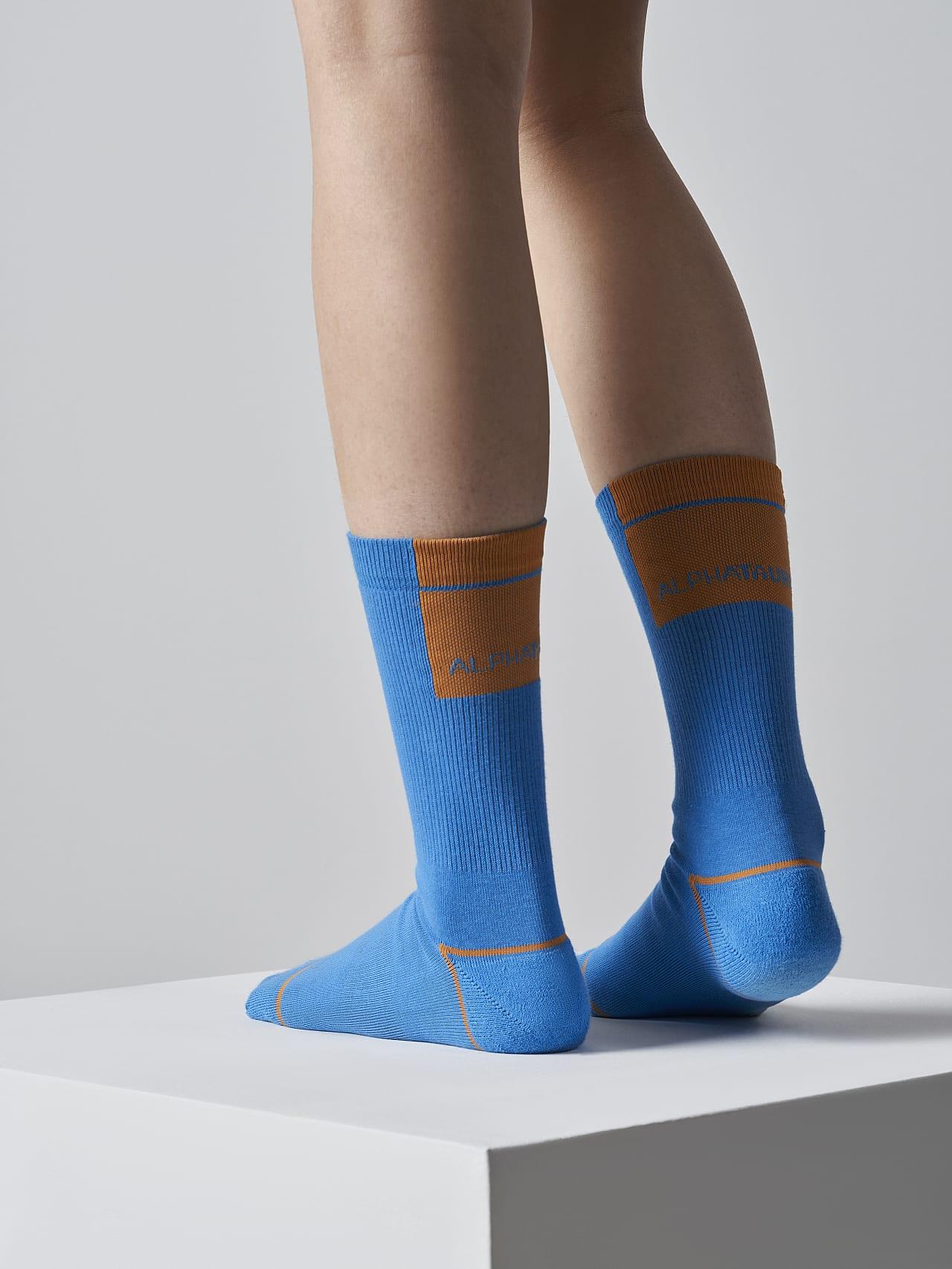 ATENI V3.Y5.02 Premium Knit Socks blue Front Alpha Tauri