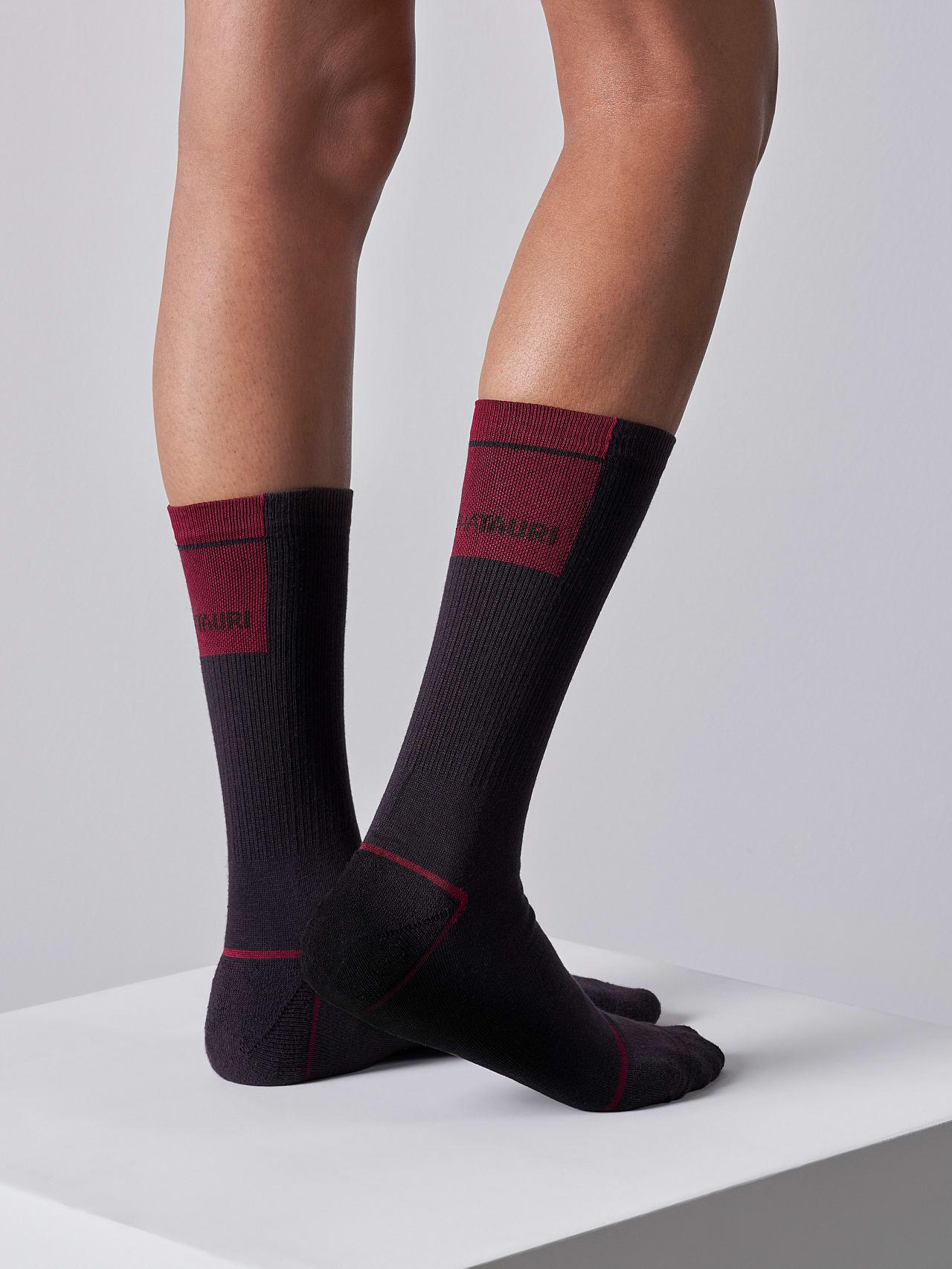 ATENI V3.Y5.02 Premium Knit Socks Burgundy Model shot Alpha Tauri