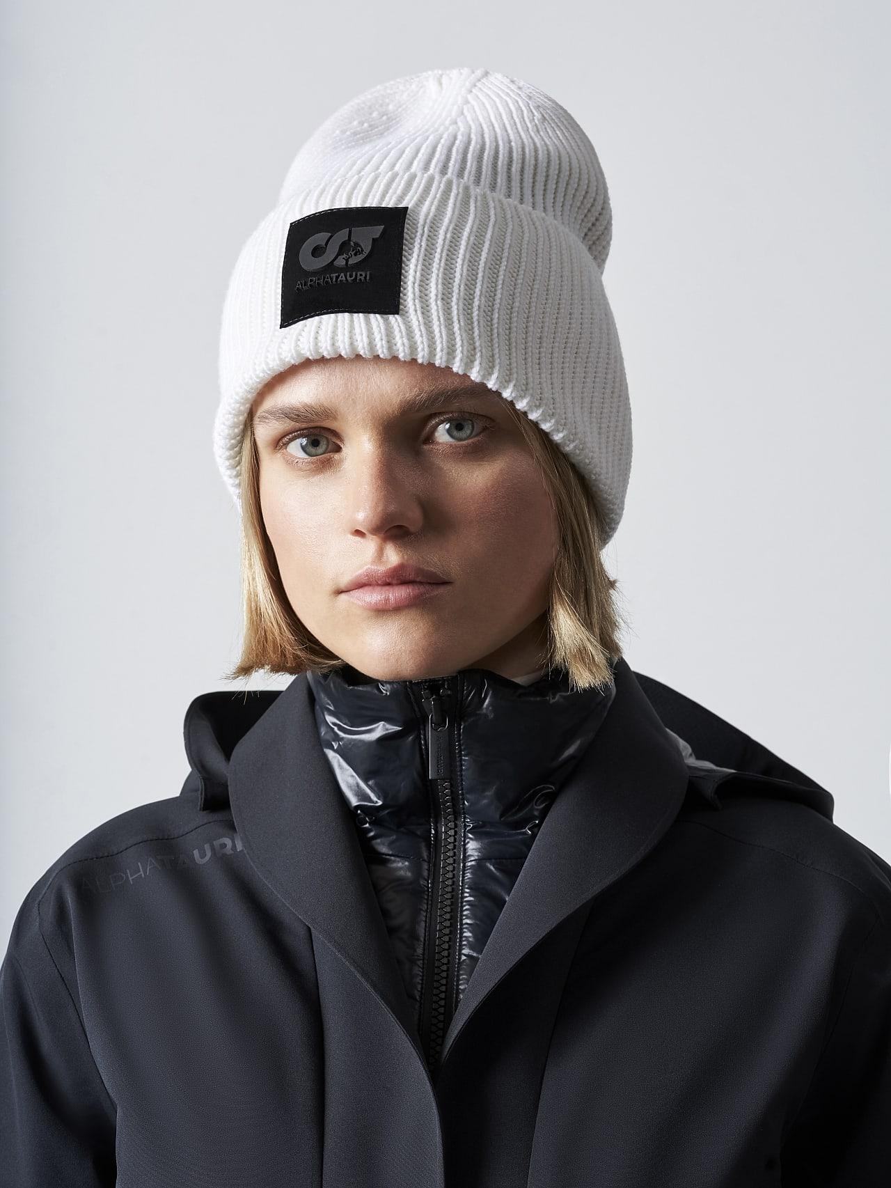 AHRAF V1.Y5.02 Unisex Rib Knit Wool Beanie offwhite Front Main Alpha Tauri