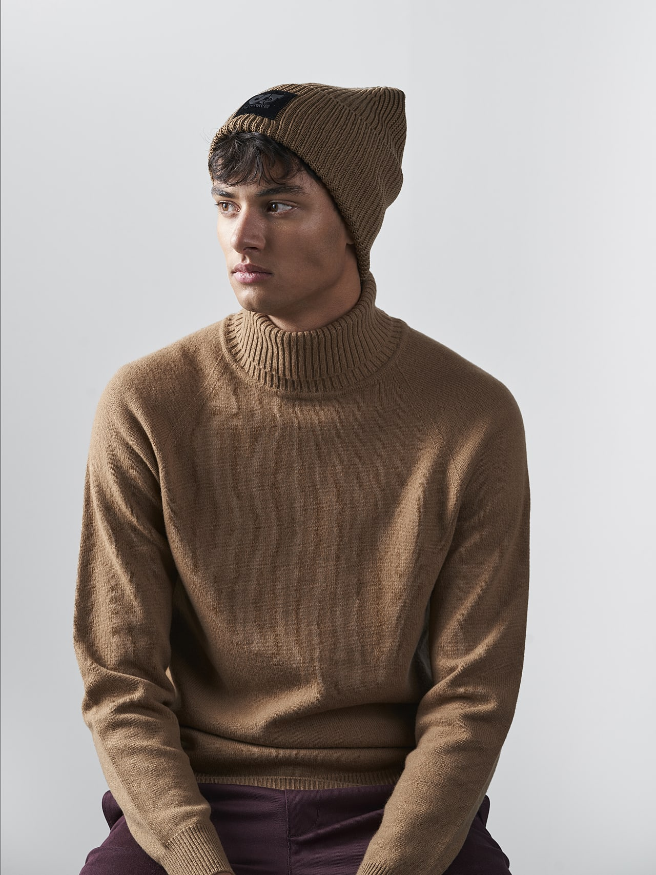 AHRAF V1.Y5.02 Unisex Rib Knit Wool Beanie gold Front Main Alpha Tauri