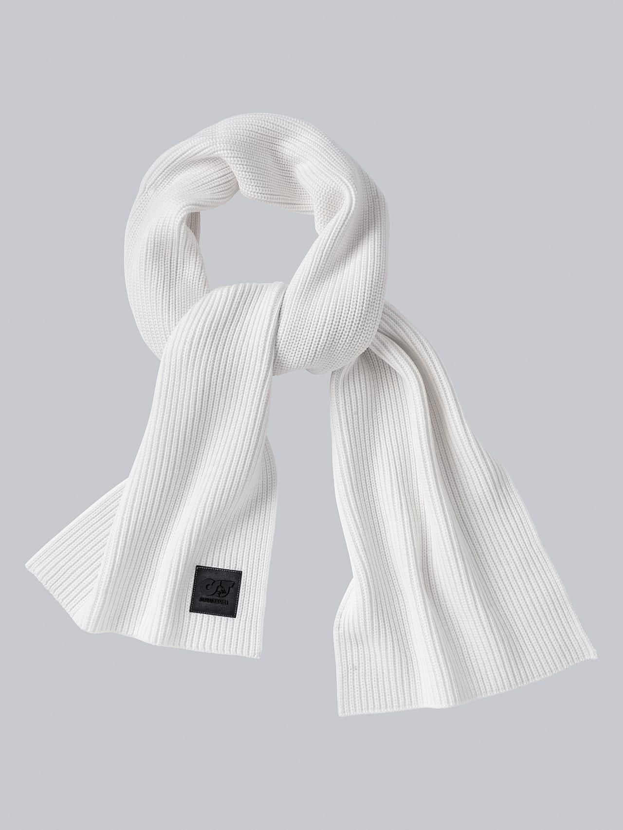 ASRAF V1.Y5.02 Unisex Rib Knit Wool Scarf offwhite Back Alpha Tauri