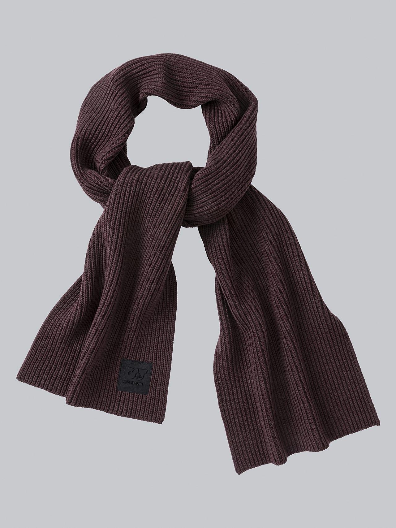 ASRAF V1.Y5.02 Unisex Rib Knit Wool Scarf Burgundy Back Alpha Tauri