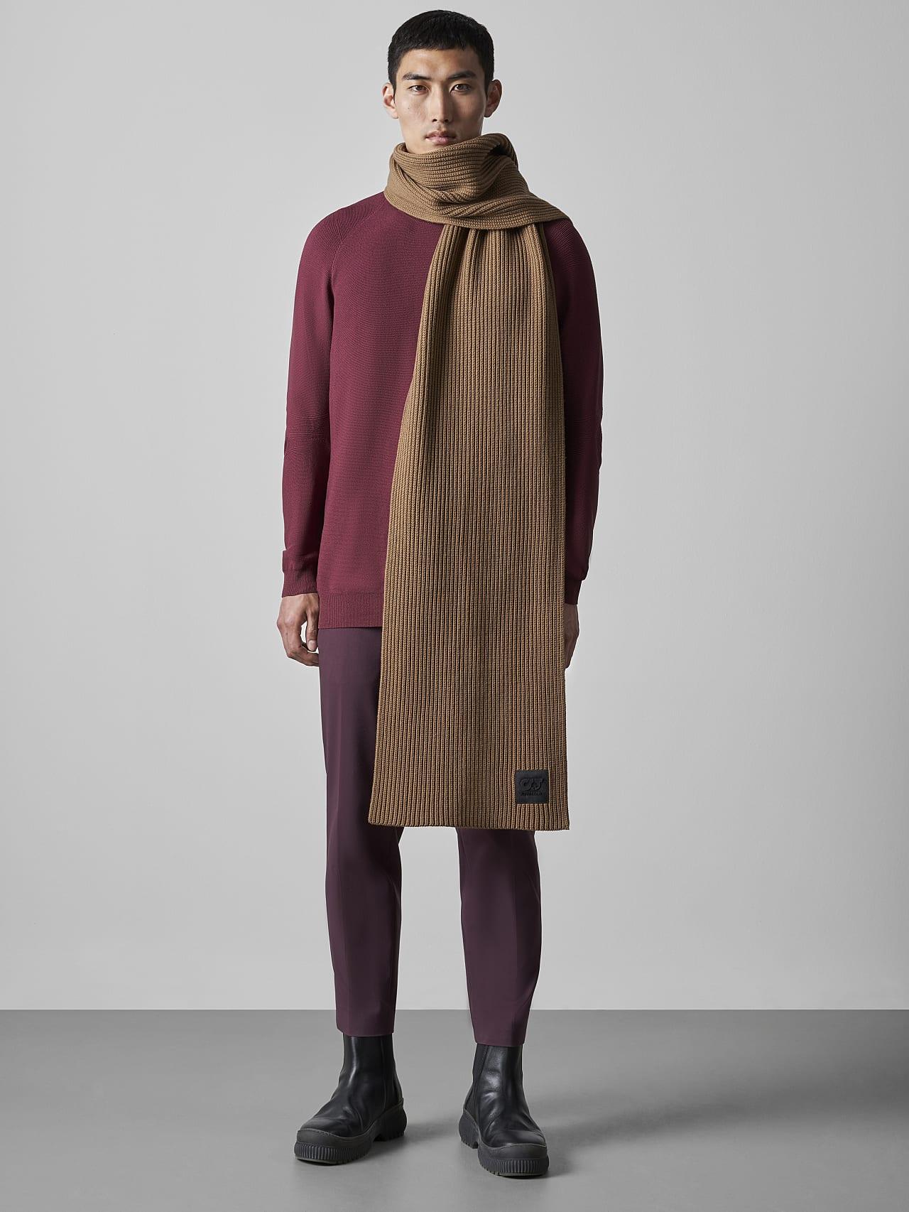 ASRAF V1.Y5.02 Unisex Rib Knit Wool Scarf gold Front Alpha Tauri