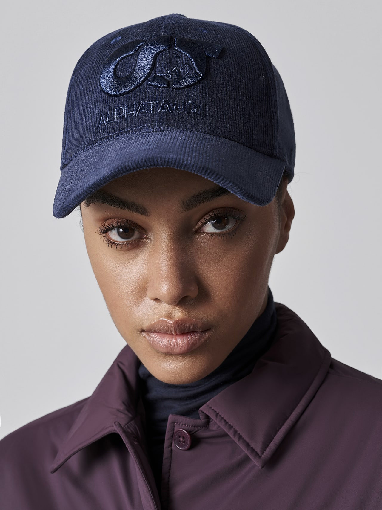 AMART V1.Y5.02 Unisex Embroidered Cord Cap navy Front Alpha Tauri