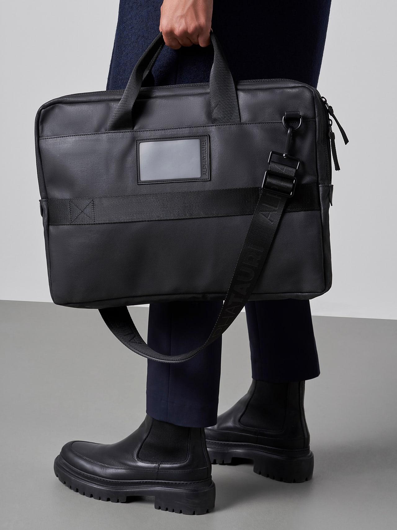 ABELO V1.Y5.02 Leather Laptop Bag dark grey / anthracite Front Main Alpha Tauri