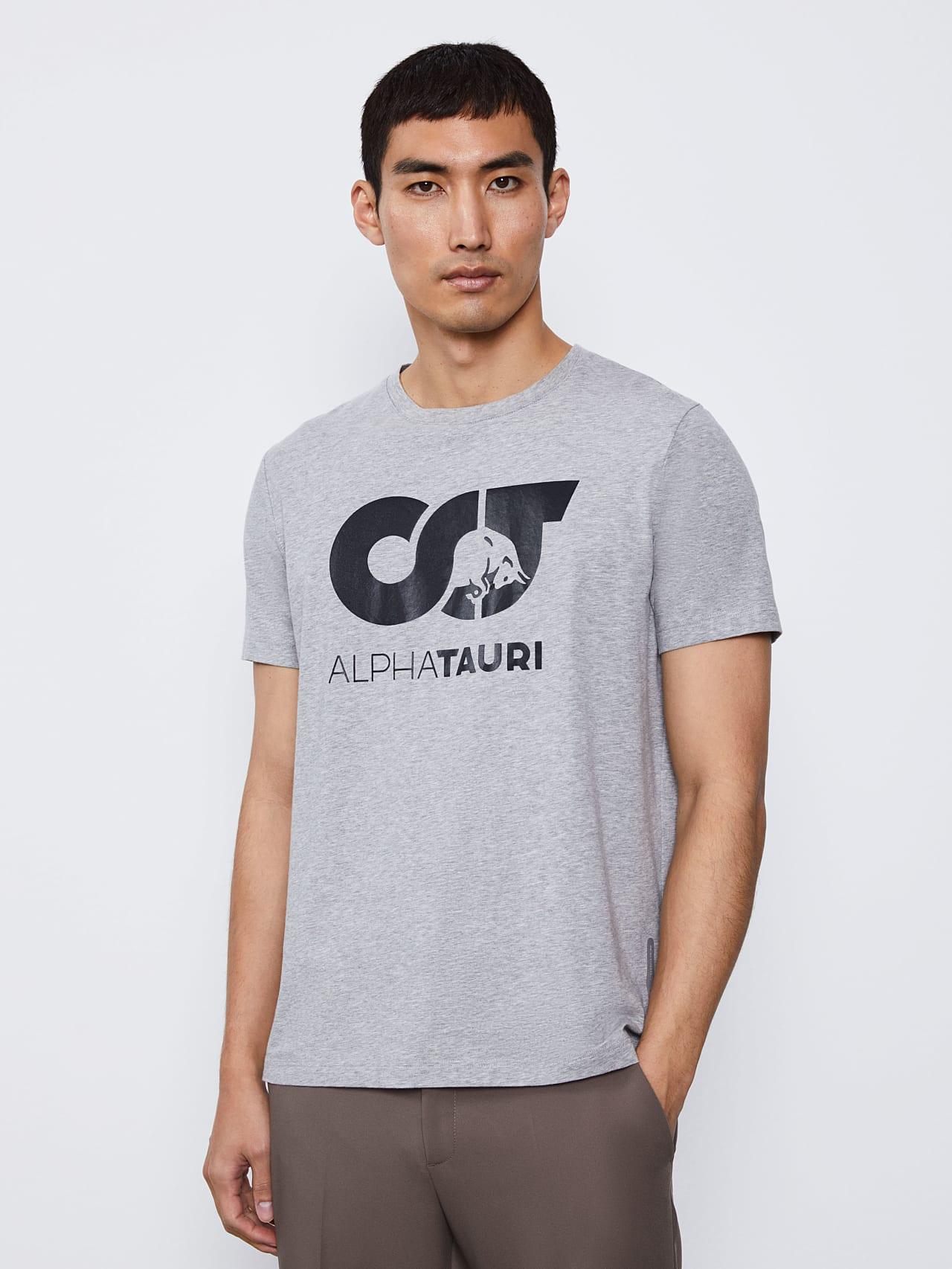 JERO V2.Y4.02 Signature Logo T-Shirt grey / melange Model shot Alpha Tauri
