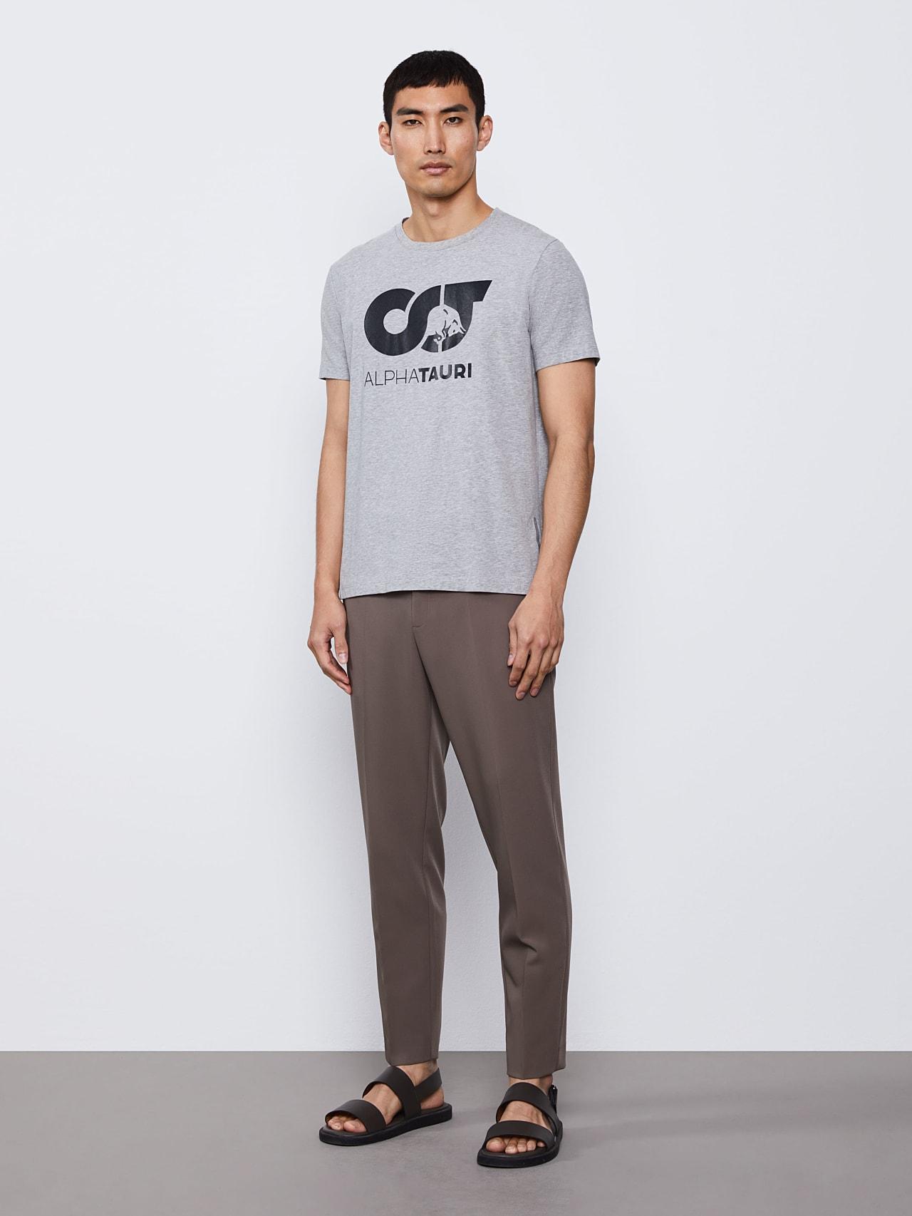 JERO V2.Y4.02 Signature Logo T-Shirt grey / melange Front Alpha Tauri