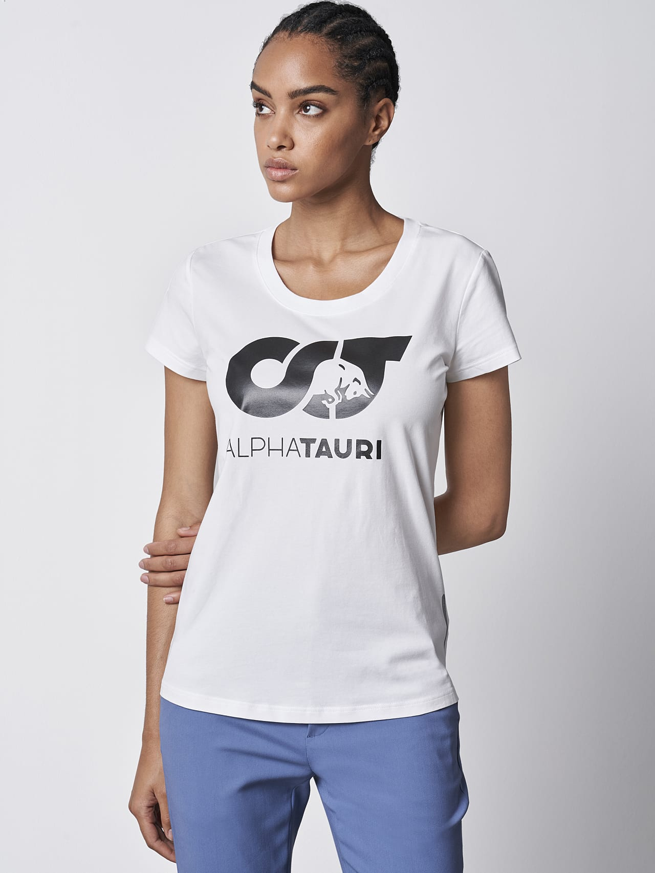 JERU V2.Y4.02 Signature Logo T-Shirt white Model shot Alpha Tauri