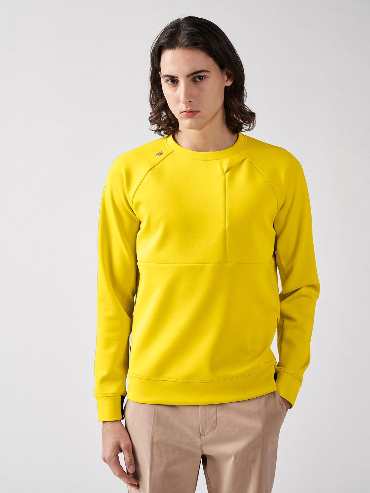 SUPRA V3.Y5.01 Technical Crewneck Sweater yellow Model shot Alpha Tauri