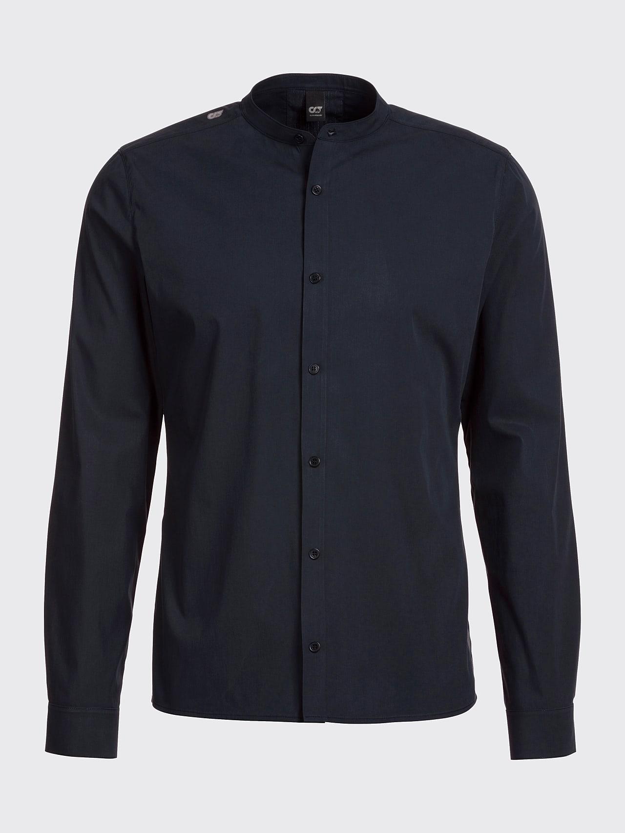 WIDT V9.Y5.01 Stand-Up Collar Cotton-Stretch Shirt navy Back Alpha Tauri