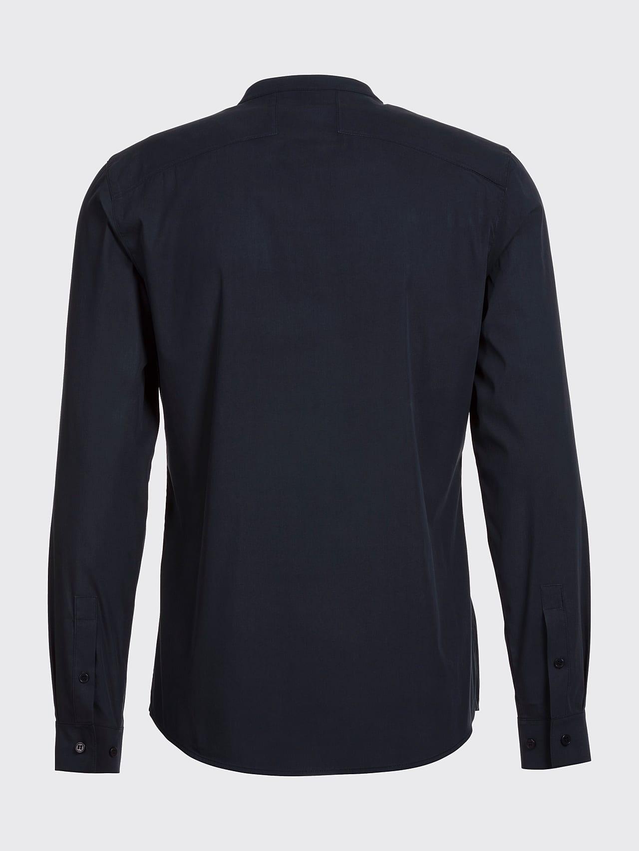 WIDT V9.Y5.01 Stand-Up Collar Cotton-Stretch Shirt navy Left Alpha Tauri