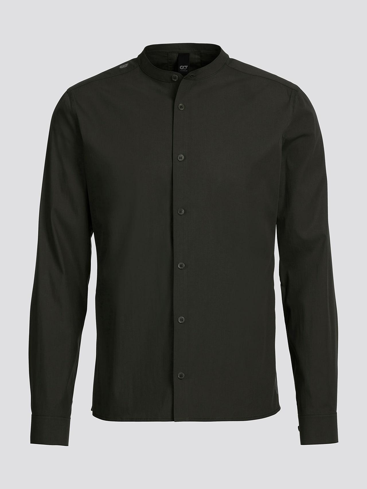 WIDT V9.Y5.01 Stand-Up Collar Cotton-Stretch Shirt olive Back Alpha Tauri