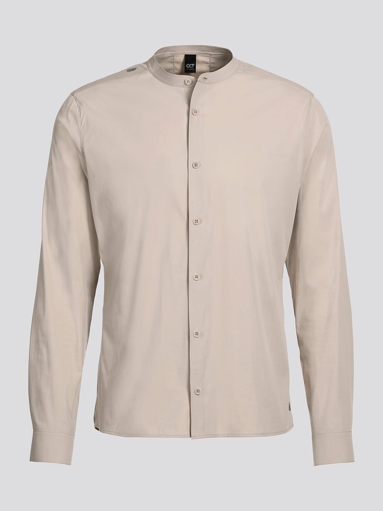 WIDT V9.Y5.01 Stand-Up Collar Cotton-Stretch Shirt Sand Back Alpha Tauri
