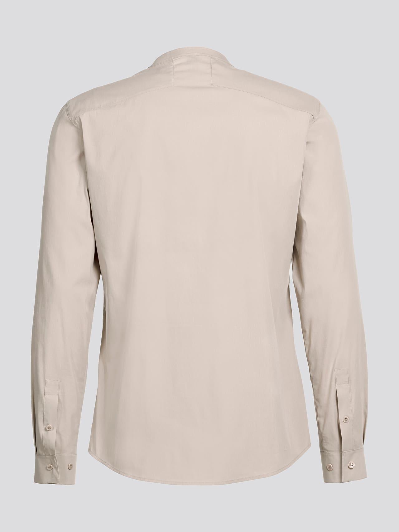 WIDT V9.Y5.01 Stand-Up Collar Cotton-Stretch Shirt Sand Left Alpha Tauri