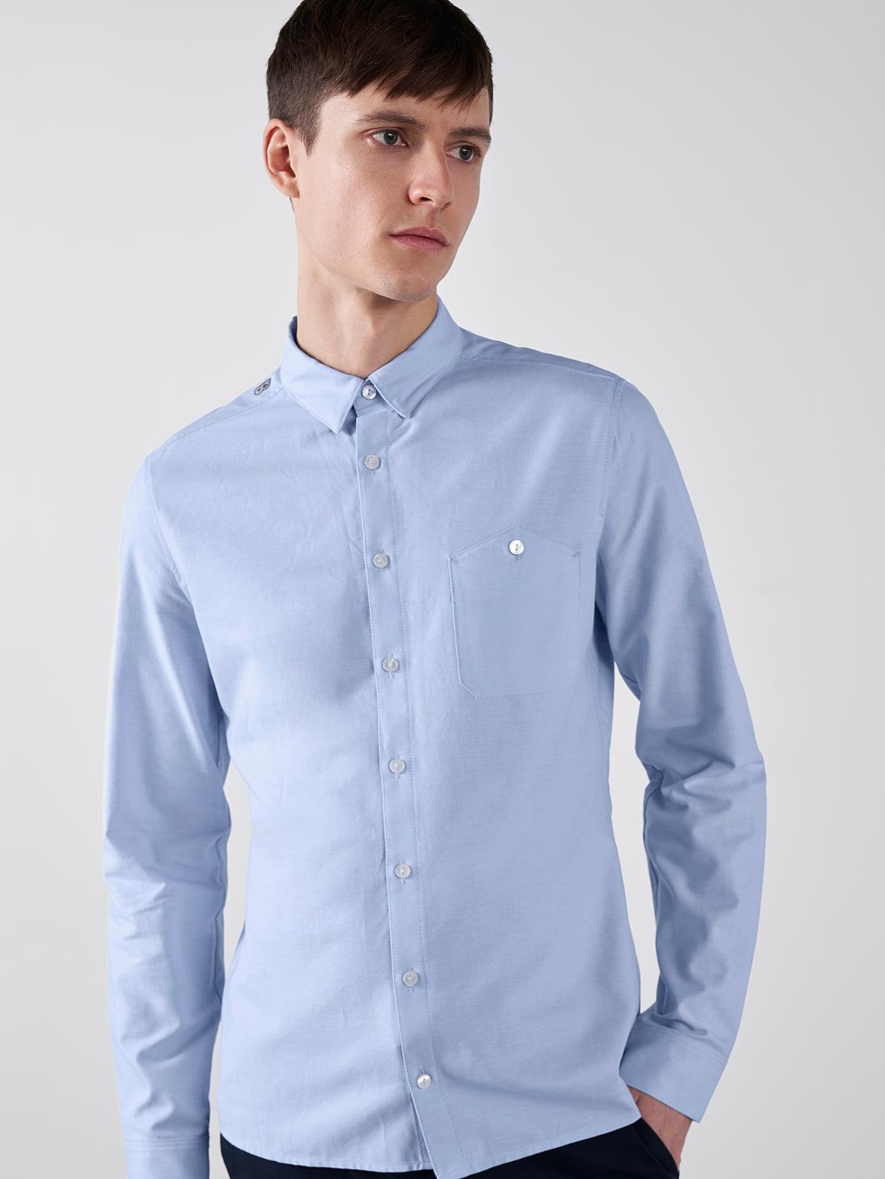 WOSKA V2.Y5.01 Kent Collar Oxford Shirt light blue Right Alpha Tauri