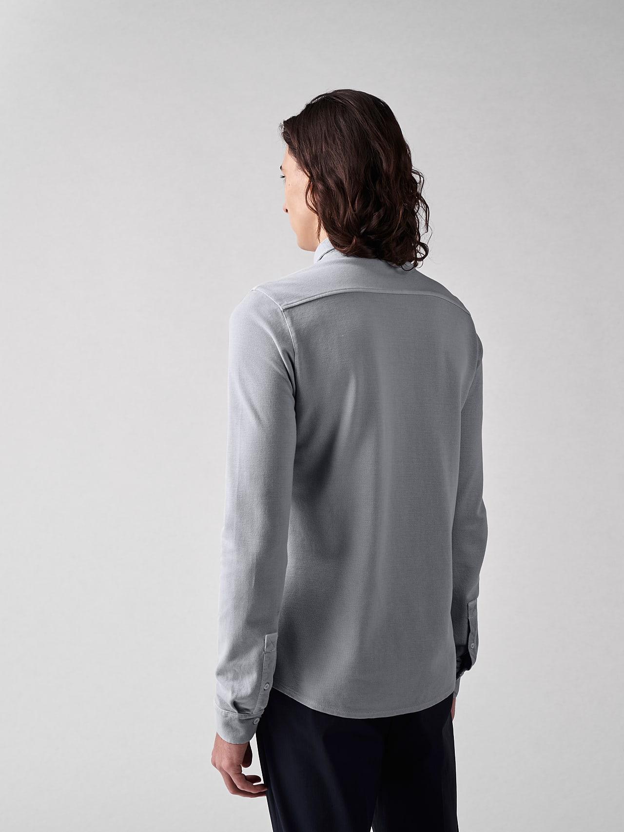 JIQUE V1.Y5.01 Pique Shirt with Kent Collar light grey Front Main Alpha Tauri