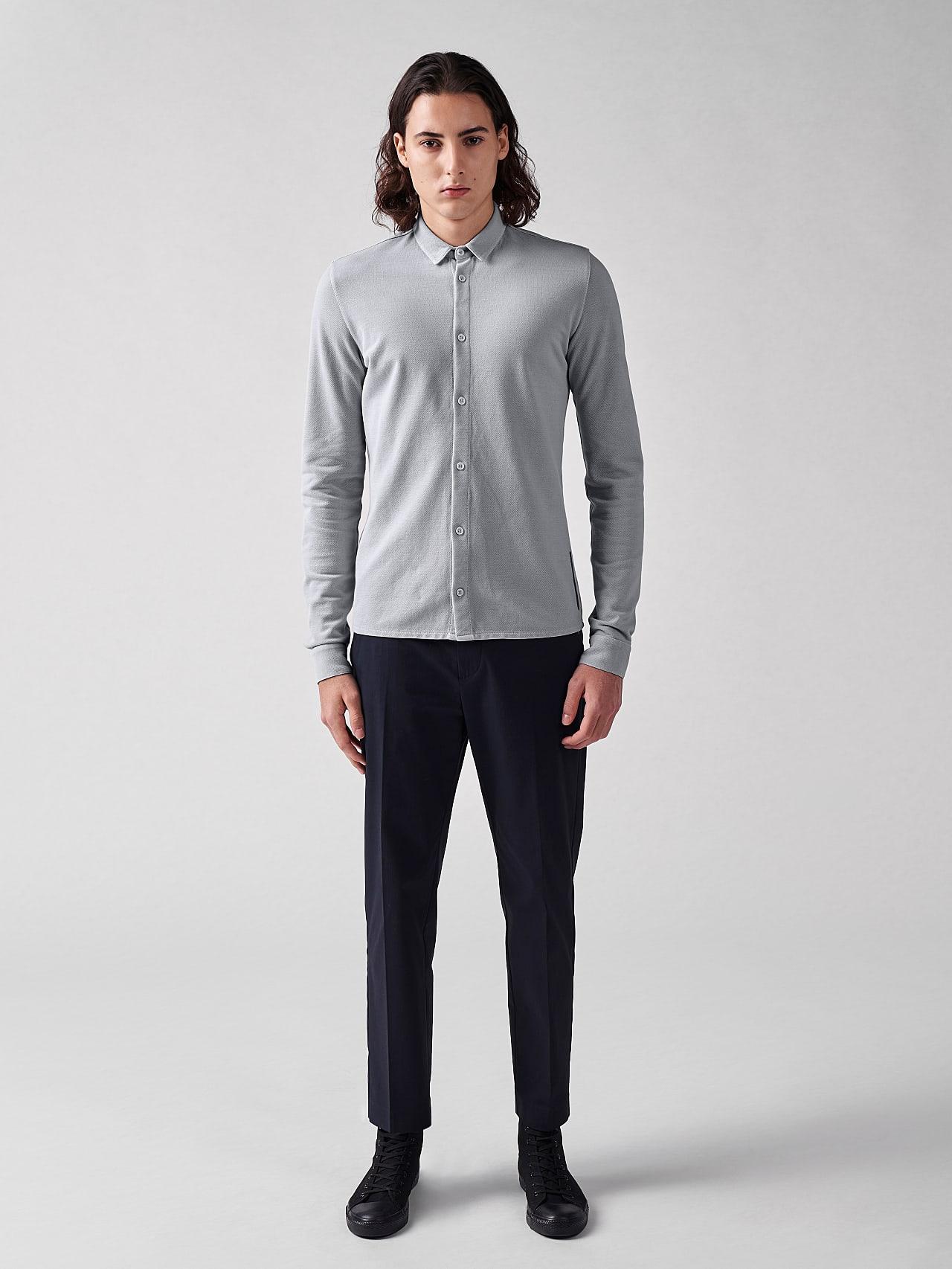 JIQUE V1.Y5.01 Pique Shirt with Kent Collar light grey Front Alpha Tauri