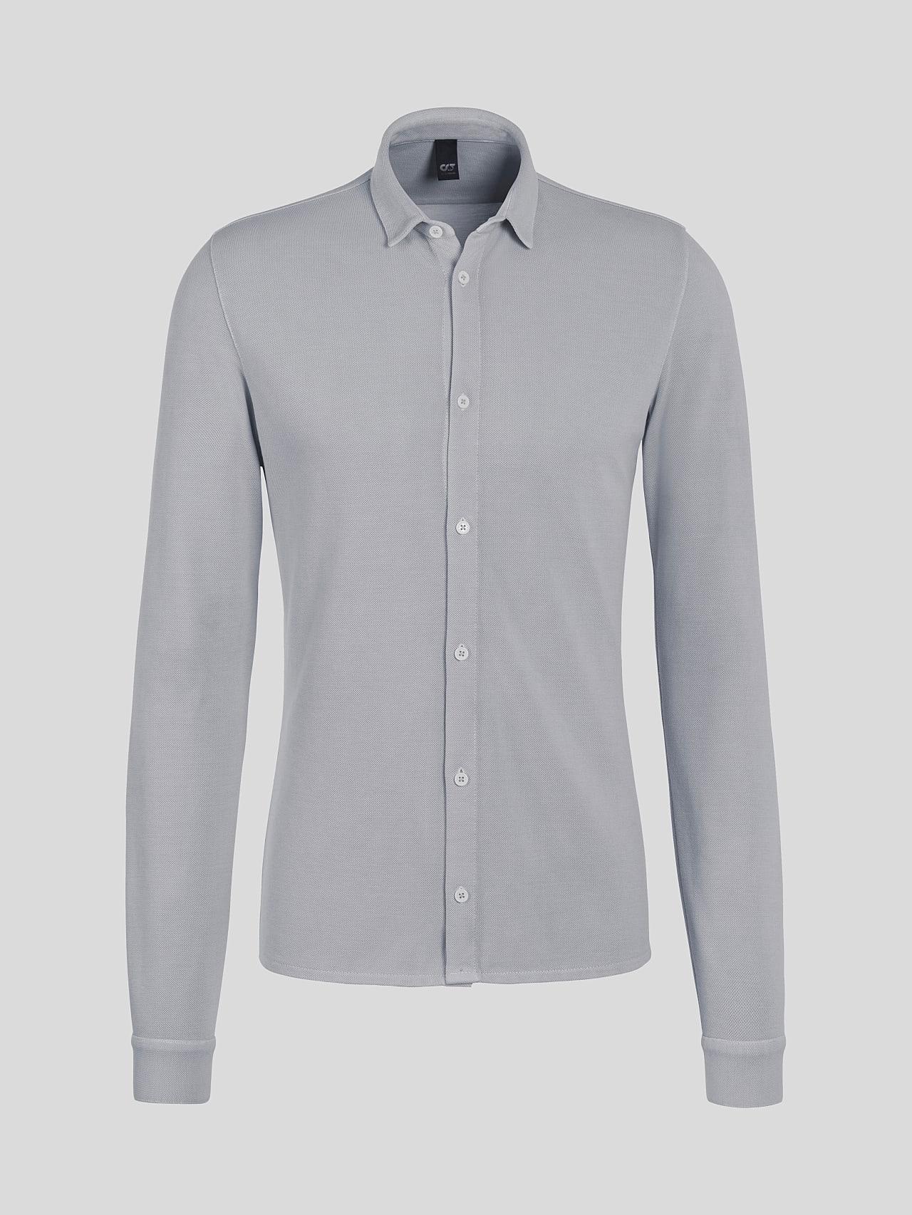 JIQUE V1.Y5.01 Pique Shirt with Kent Collar light grey Back Alpha Tauri