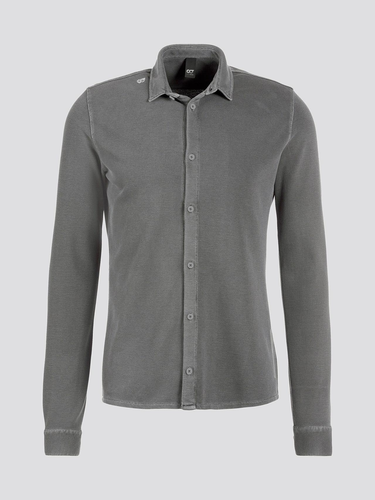 JIQUE V1.Y5.01 Pique Shirt with Kent Collar dark grey / anthracite Back Alpha Tauri