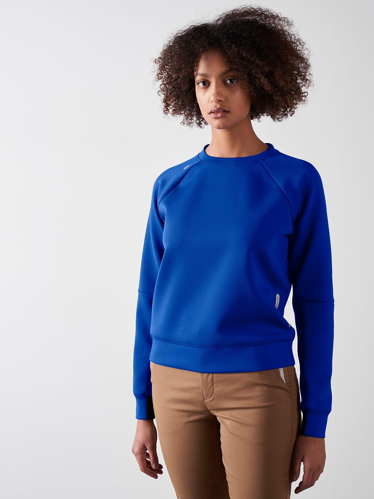 SINOV V1.Y5.01 Crewneck Sweater blue Model shot Alpha Tauri
