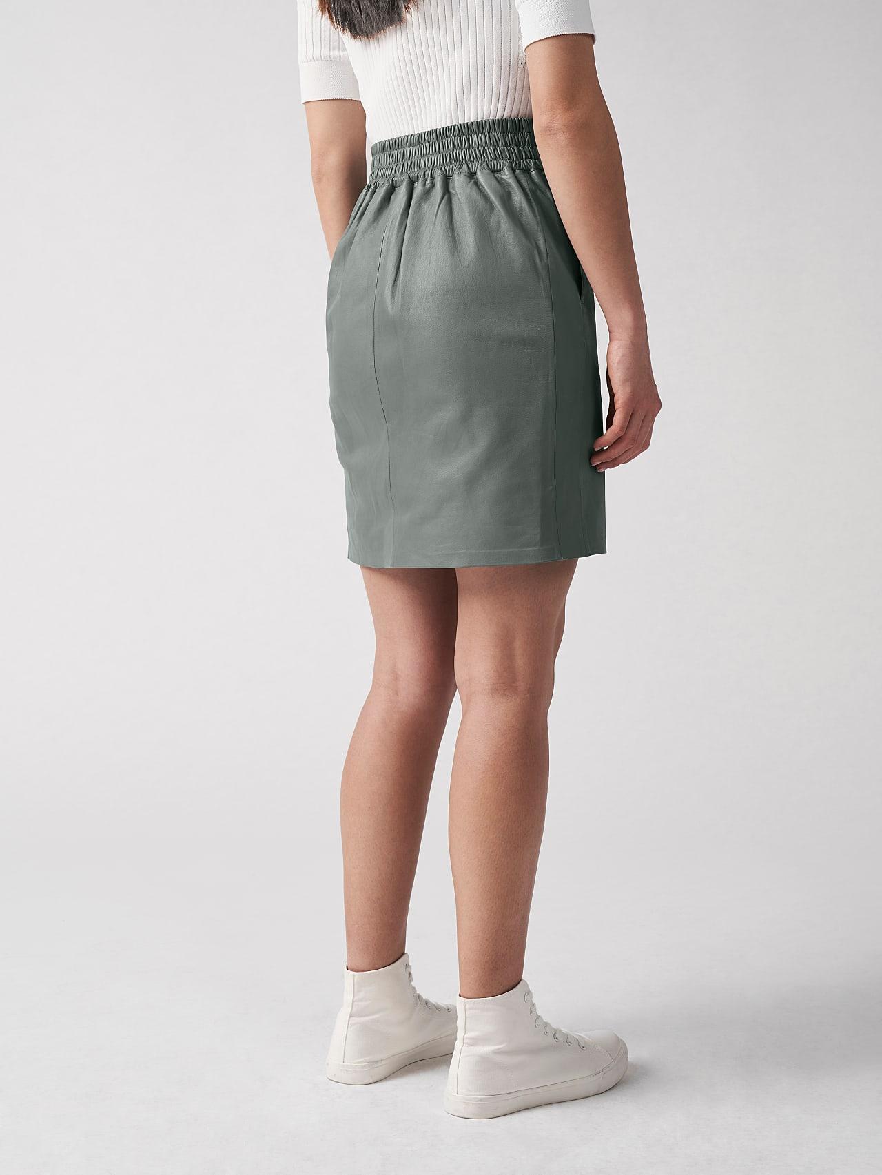 LEXSI V1.Y5.01 Leather Pencil Skirt Grey Front Main Alpha Tauri