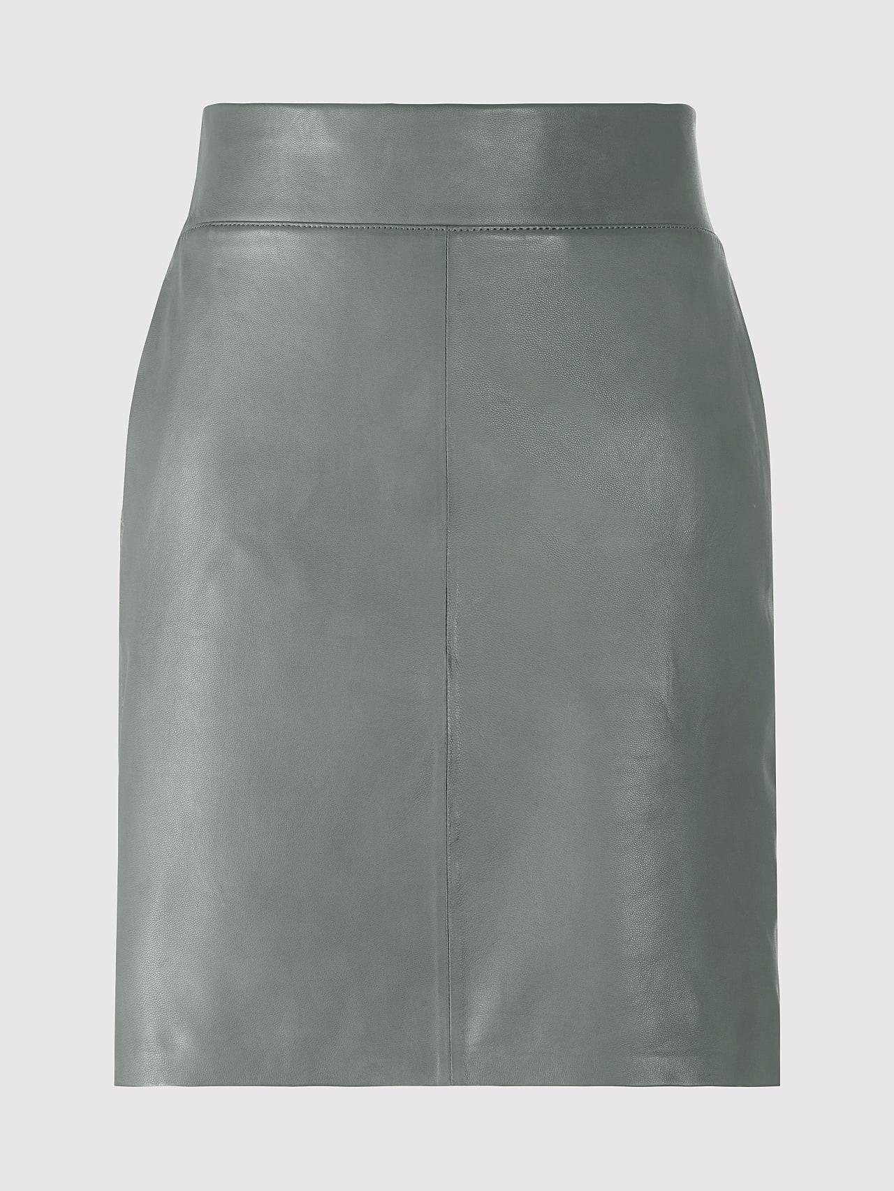 LEXSI V1.Y5.01 Leather Pencil Skirt Grey Back Alpha Tauri