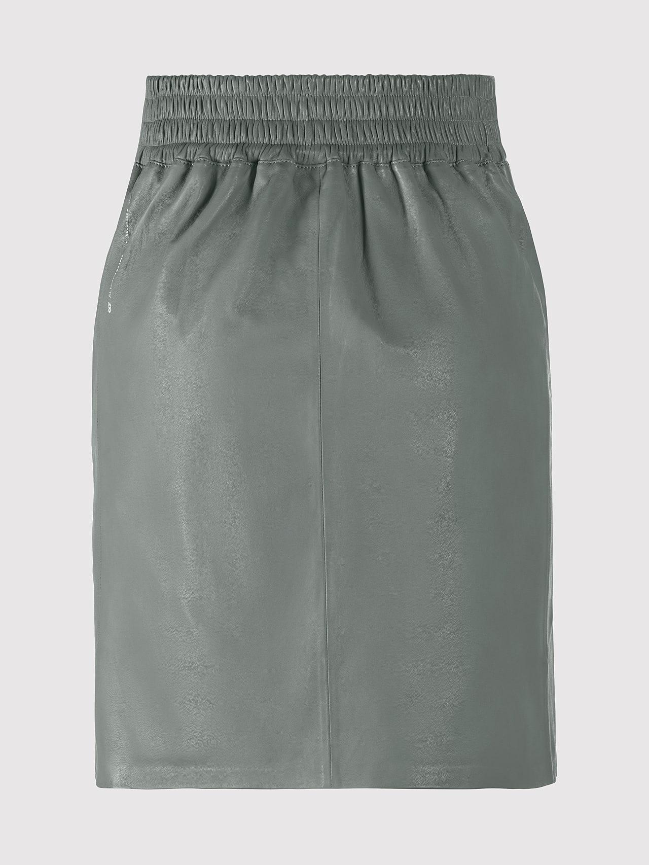 LEXSI V1.Y5.01 Leather Pencil Skirt Grey Left Alpha Tauri