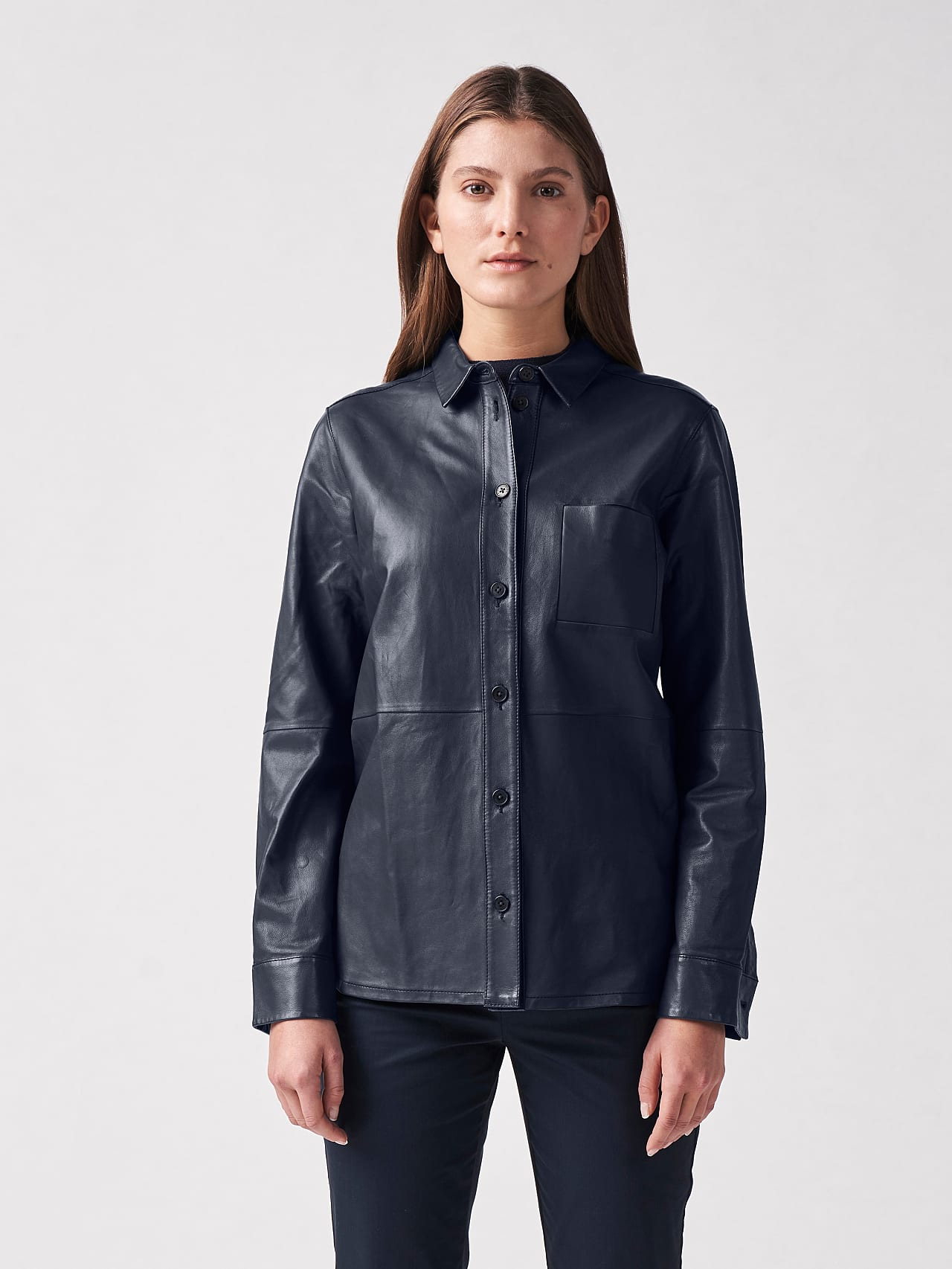 LEORD V1.Y5.01 Leather Shirt navy Front Alpha Tauri